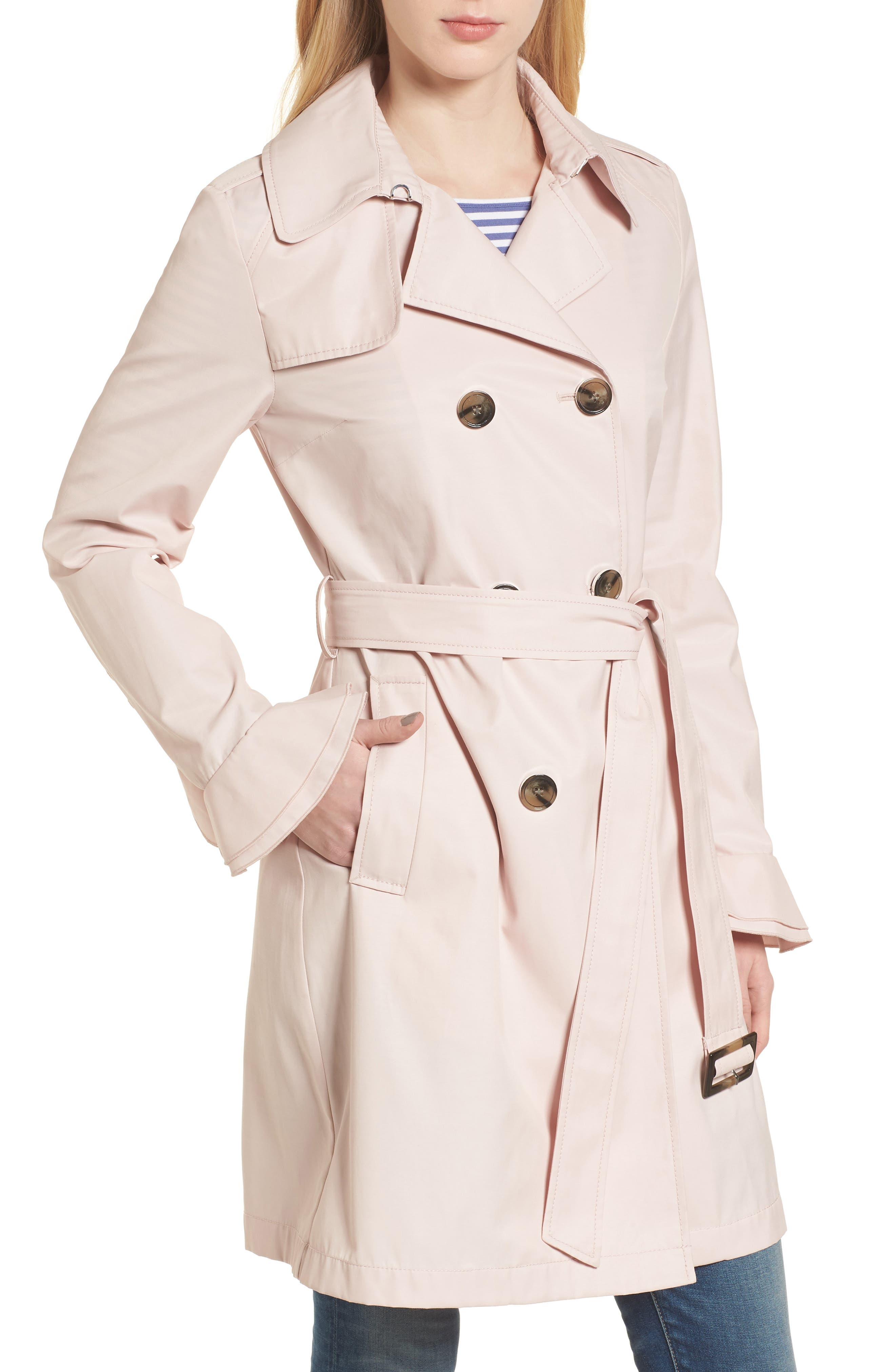 Stella Ruffle Sleeve Trench Coat,                         Main,                         color, Dusty Pink