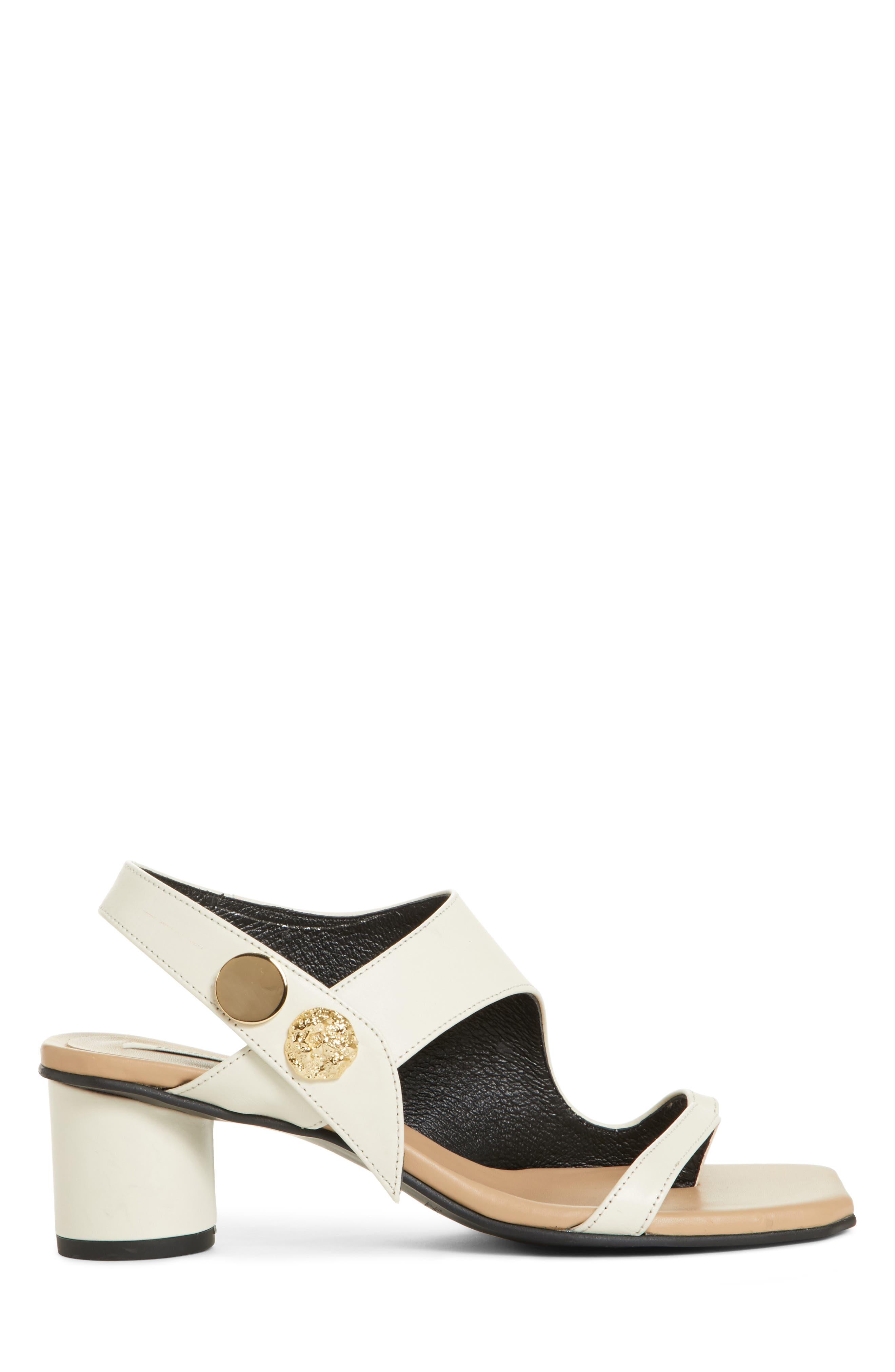 Embellished Leather Sandal,                             Alternate thumbnail 4, color,                             Beige Cream