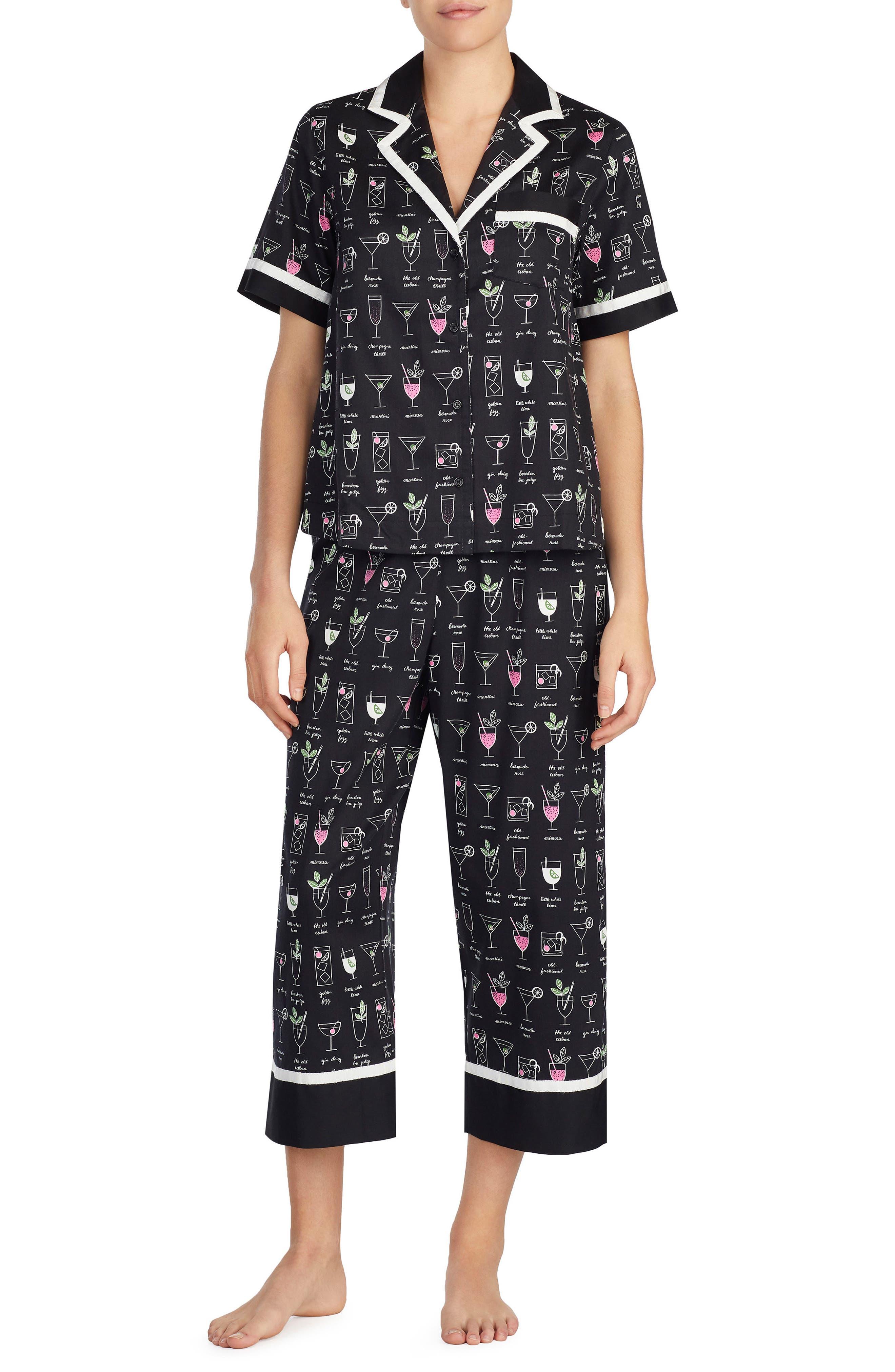 kate spade new york cropped sateen pajamas
