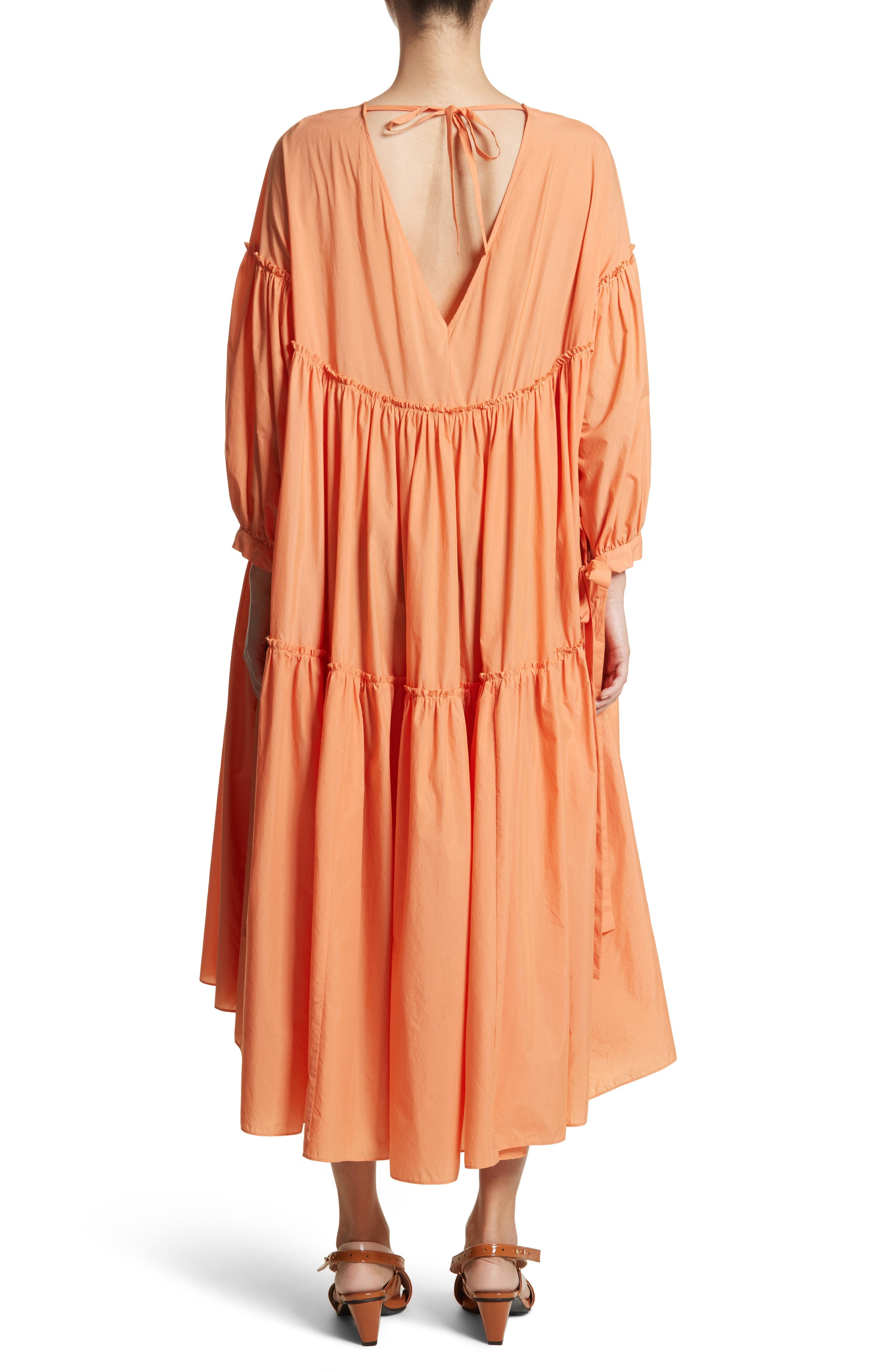 Sara Tiered Shift Dress,                             Alternate thumbnail 3, color,                             Cotton Orange
