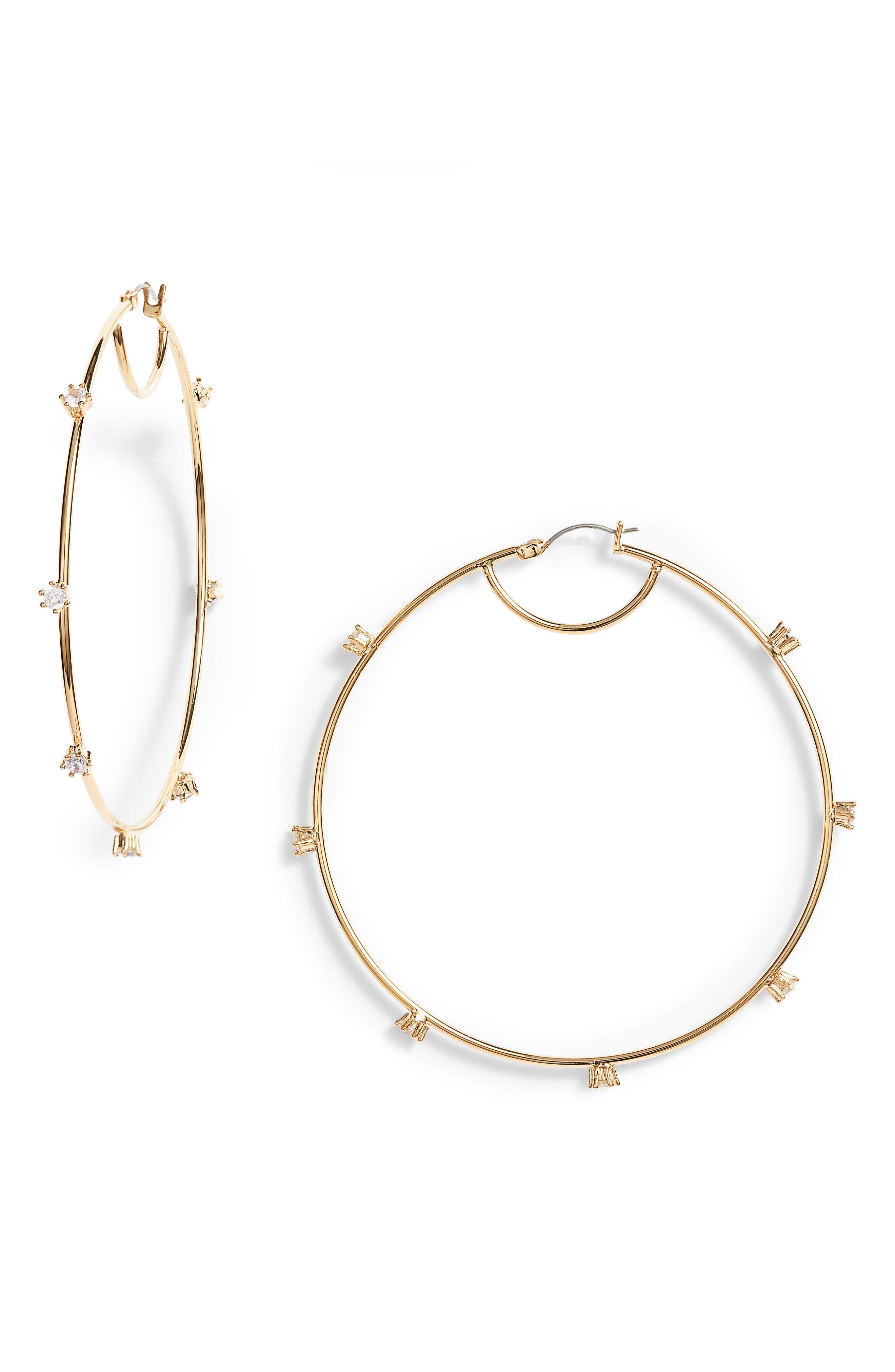 Oversize Cubic Zirconia Hoop Earrings,                         Main,                         color, Gold