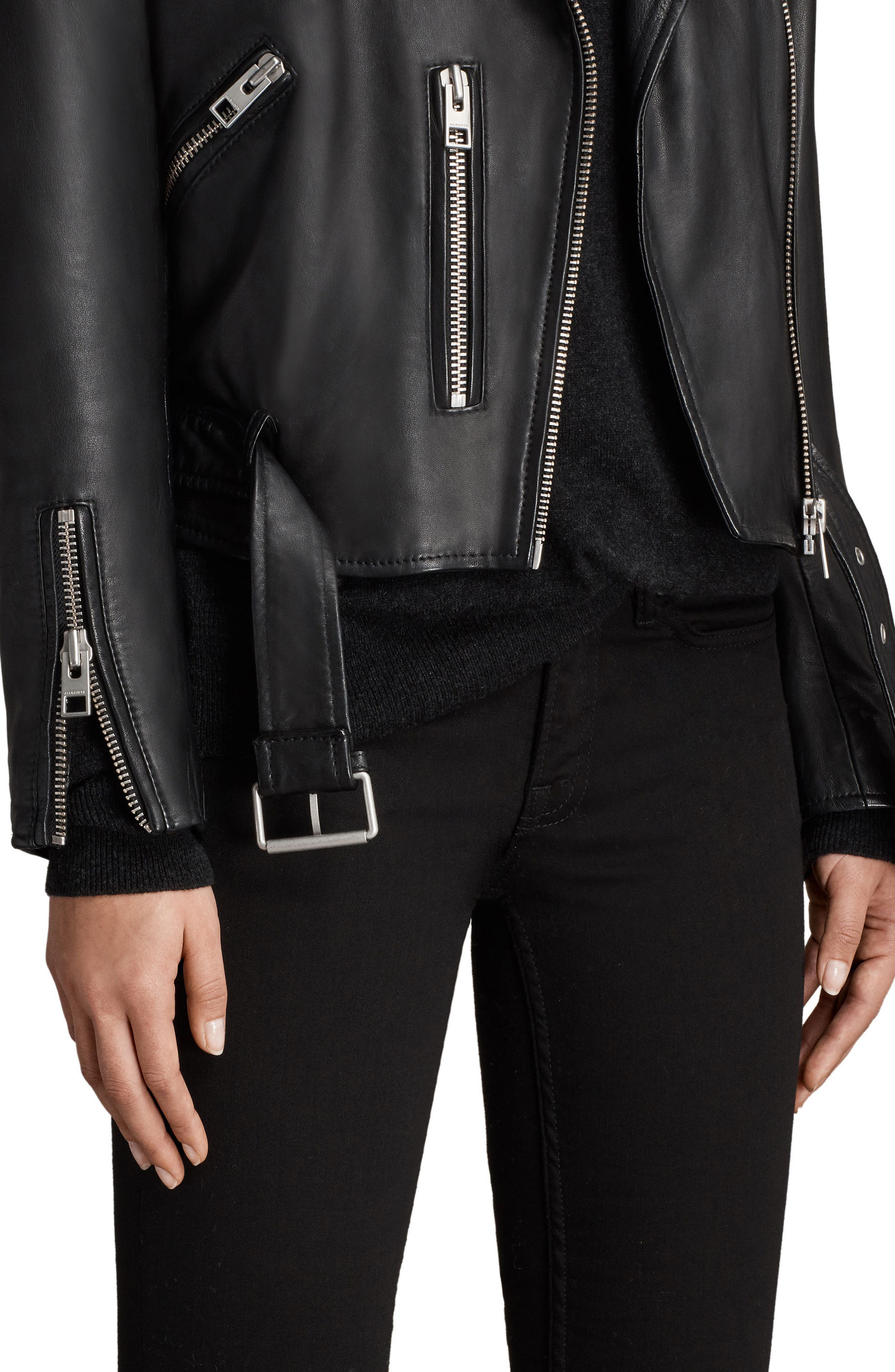 Balfern Leather Biker Jacket,                             Alternate thumbnail 5, color,                             Black