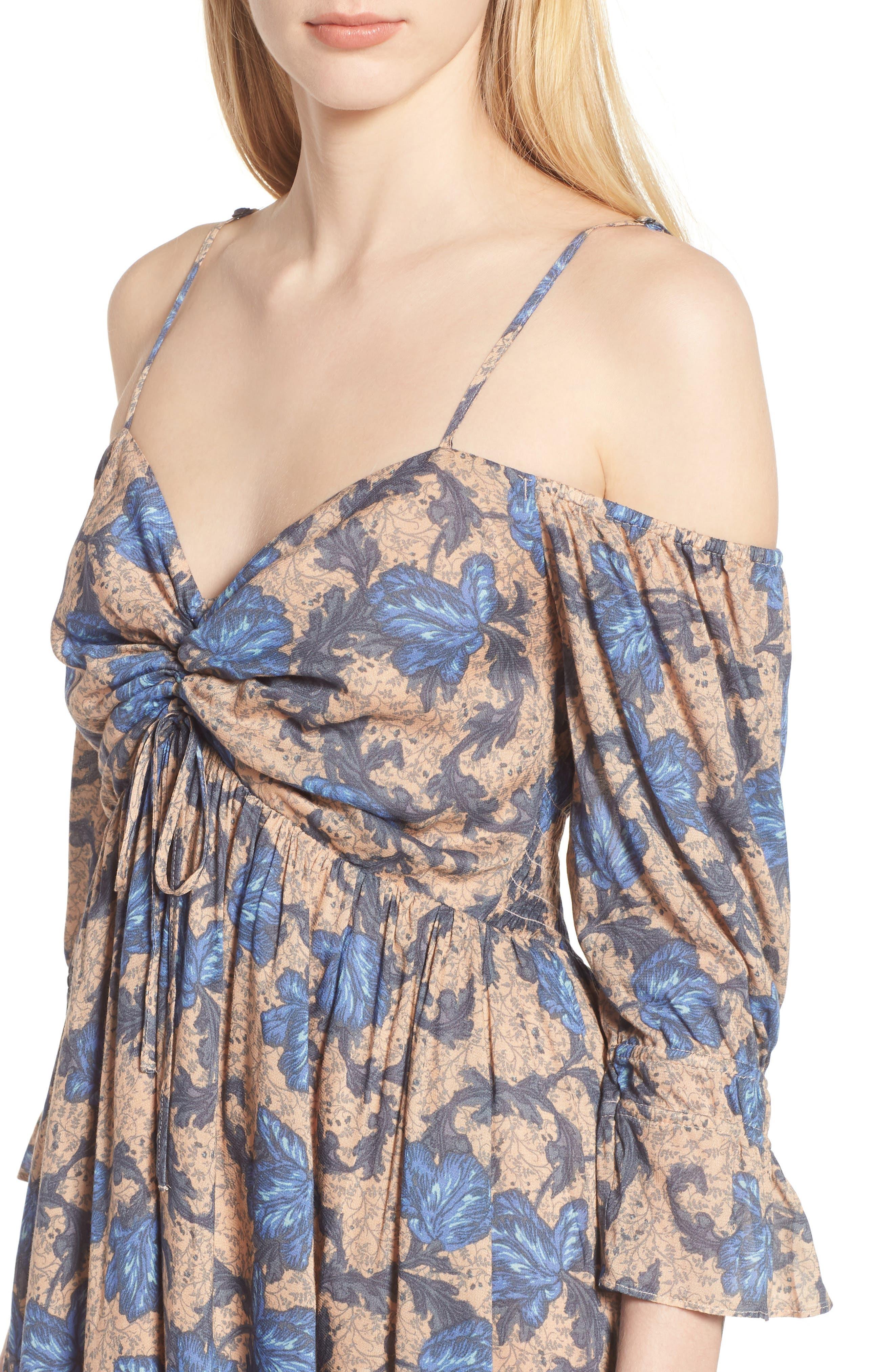 Smocked Back Cold Shoulder Dress,                             Alternate thumbnail 4, color,                             Beige Maple Wallpaper Ivy