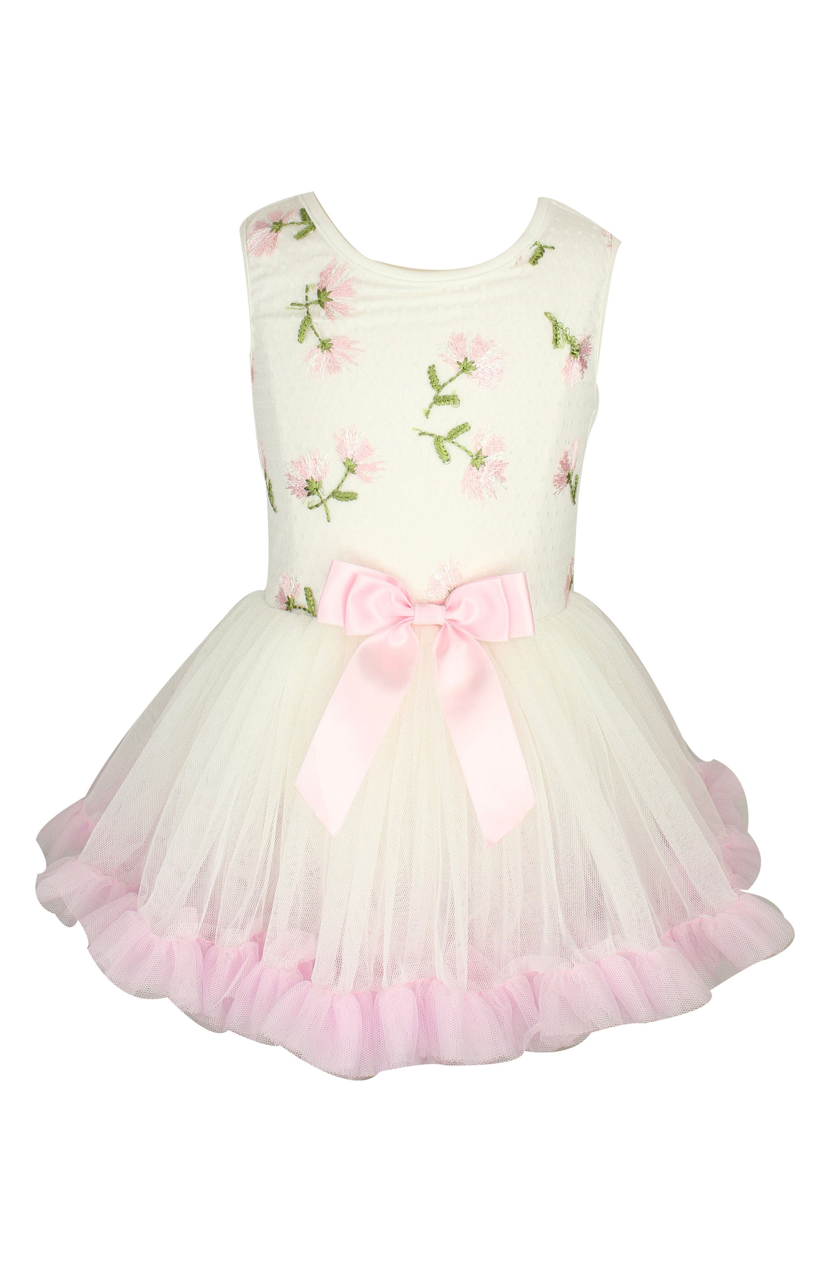 Embroidered Flowers Tutu Dress,                             Main thumbnail 1, color,                             White