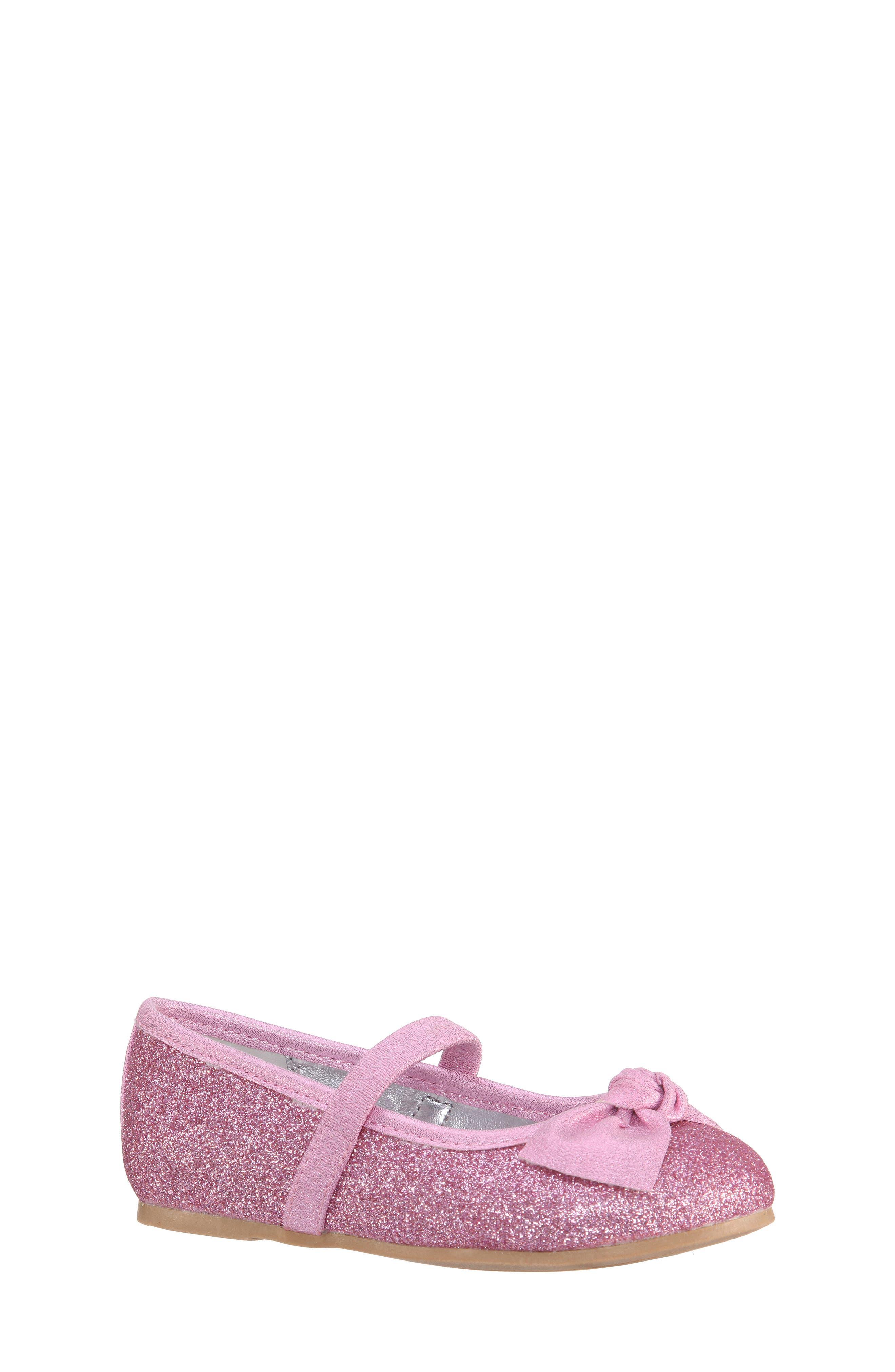 Larabeth-T Glitter Bow Ballet Flat,                             Main thumbnail 1, color,                             Light Pink Metallic/ Glitter