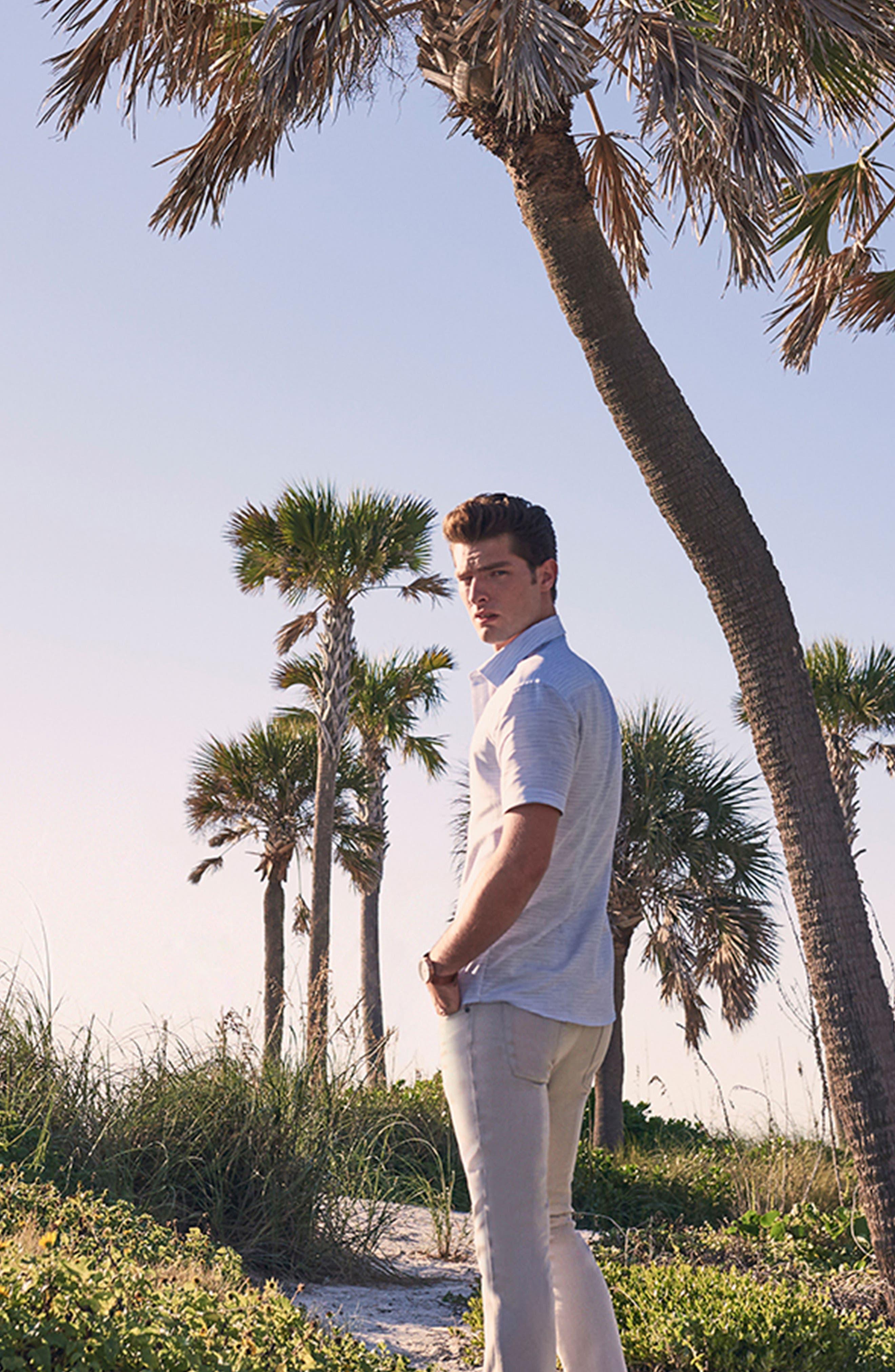 Slim Fit Stripe Short Sleeve Sport Shirt,                             Alternate thumbnail 8, color,                             Light/ Pastel Blue Dobby