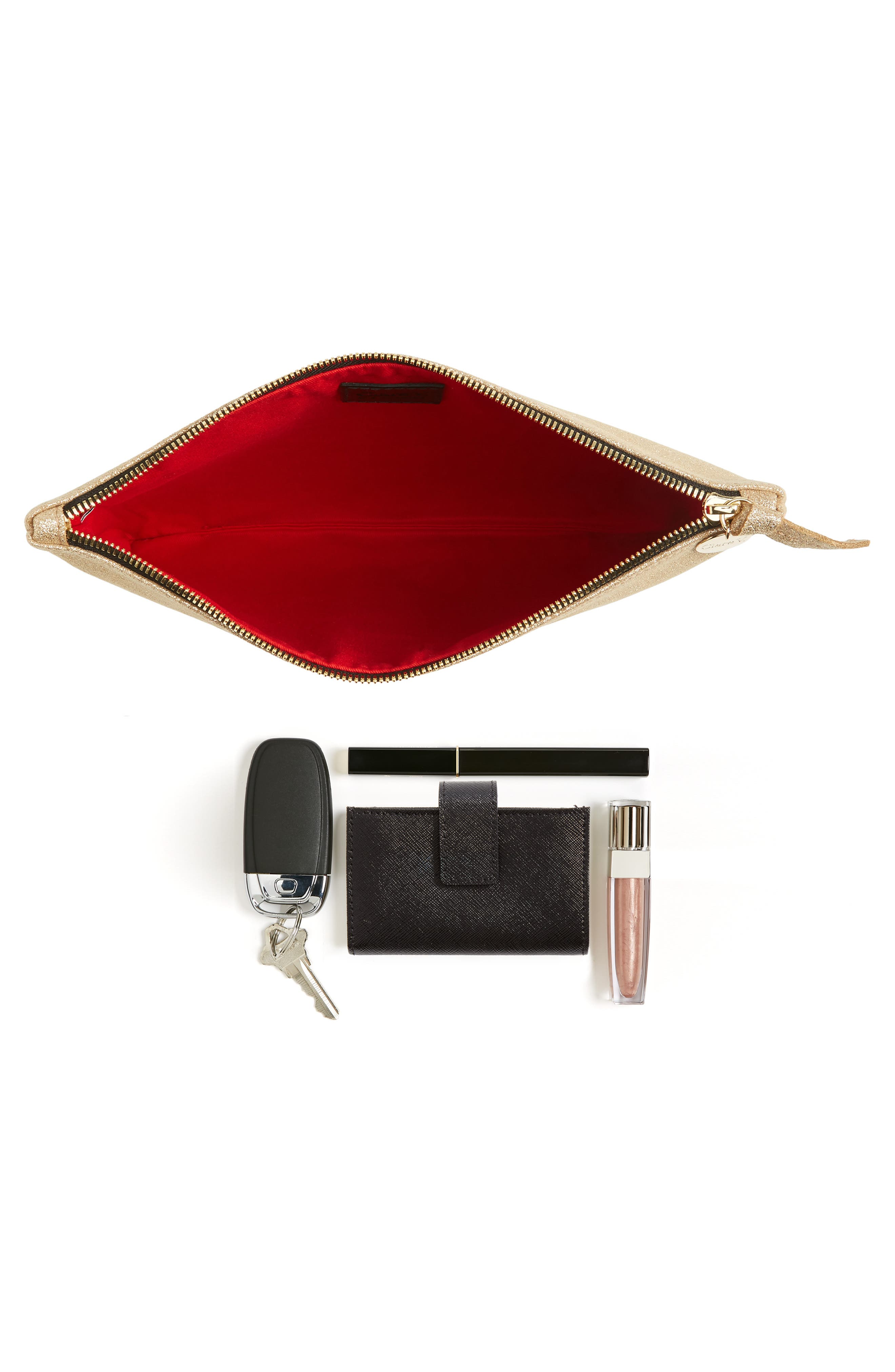 Alternate Image 7  - Clare V. Maison Metallic Suede Flat Clutch