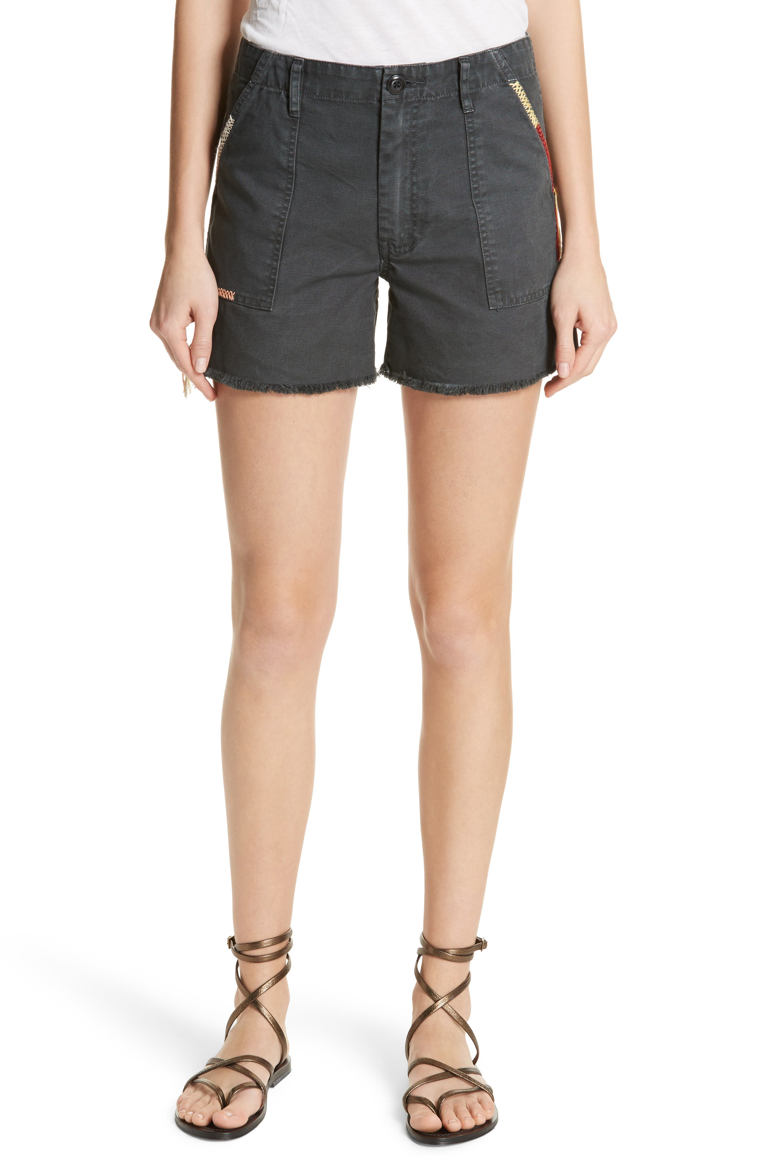 The Desert Embroidered Shorts,                         Main,                         color, Washed Black
