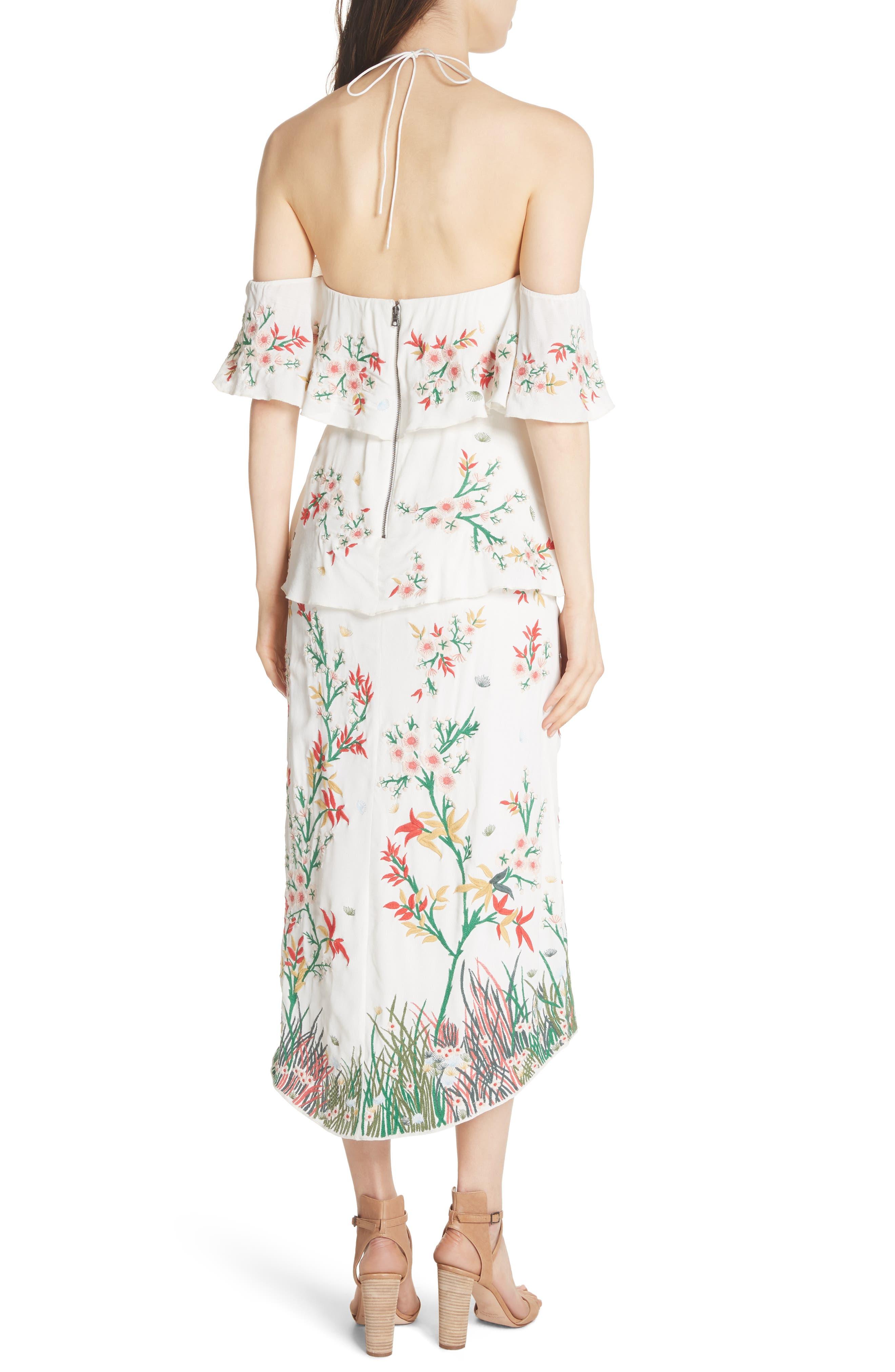 Golda Embroidered Midi Halter Dress,                             Alternate thumbnail 2, color,                             Cream/ Multi