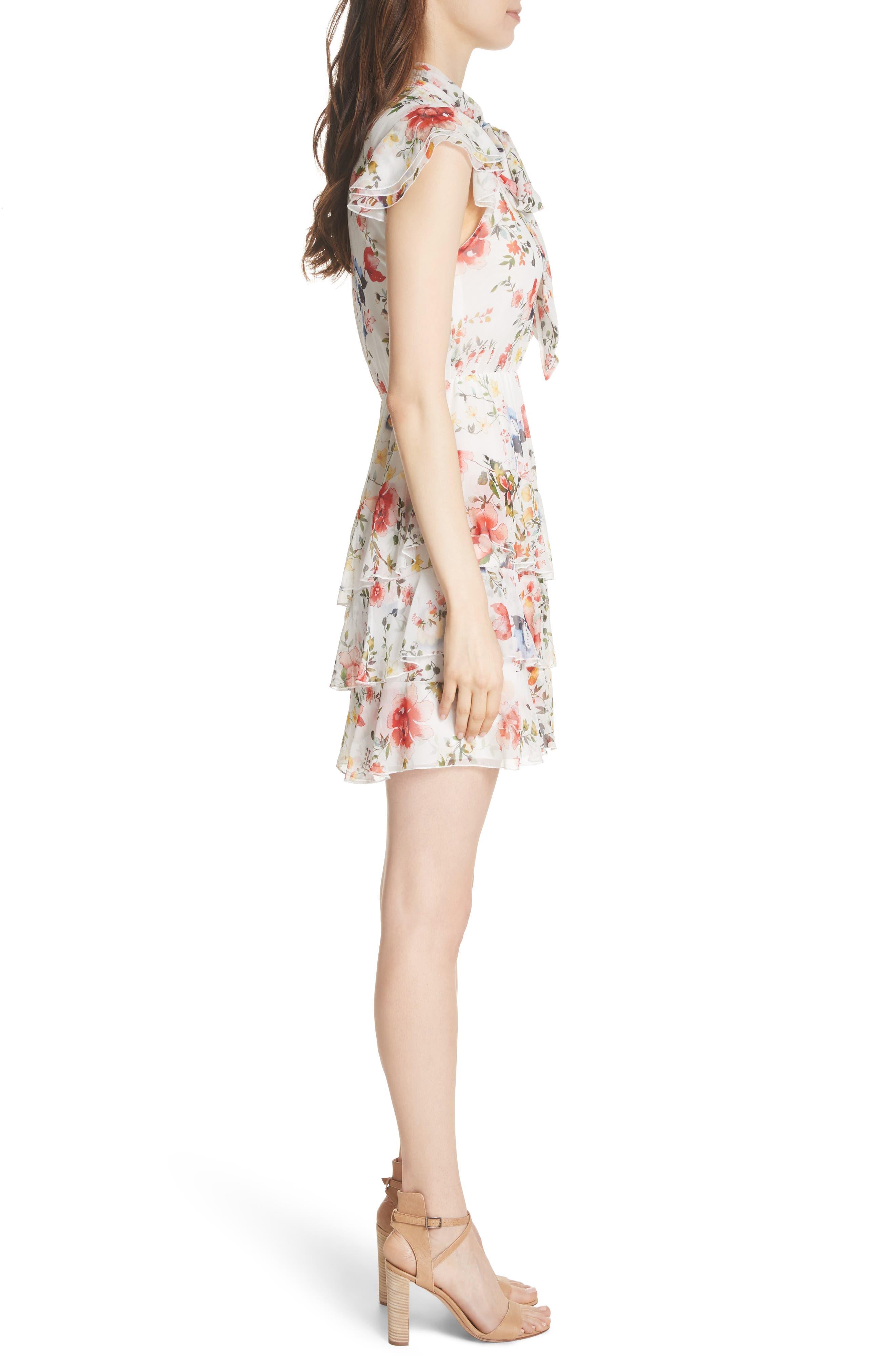 Lessie Ruffled Floral Silk Dress,                             Alternate thumbnail 3, color,                             Floral Soiree-Soft White
