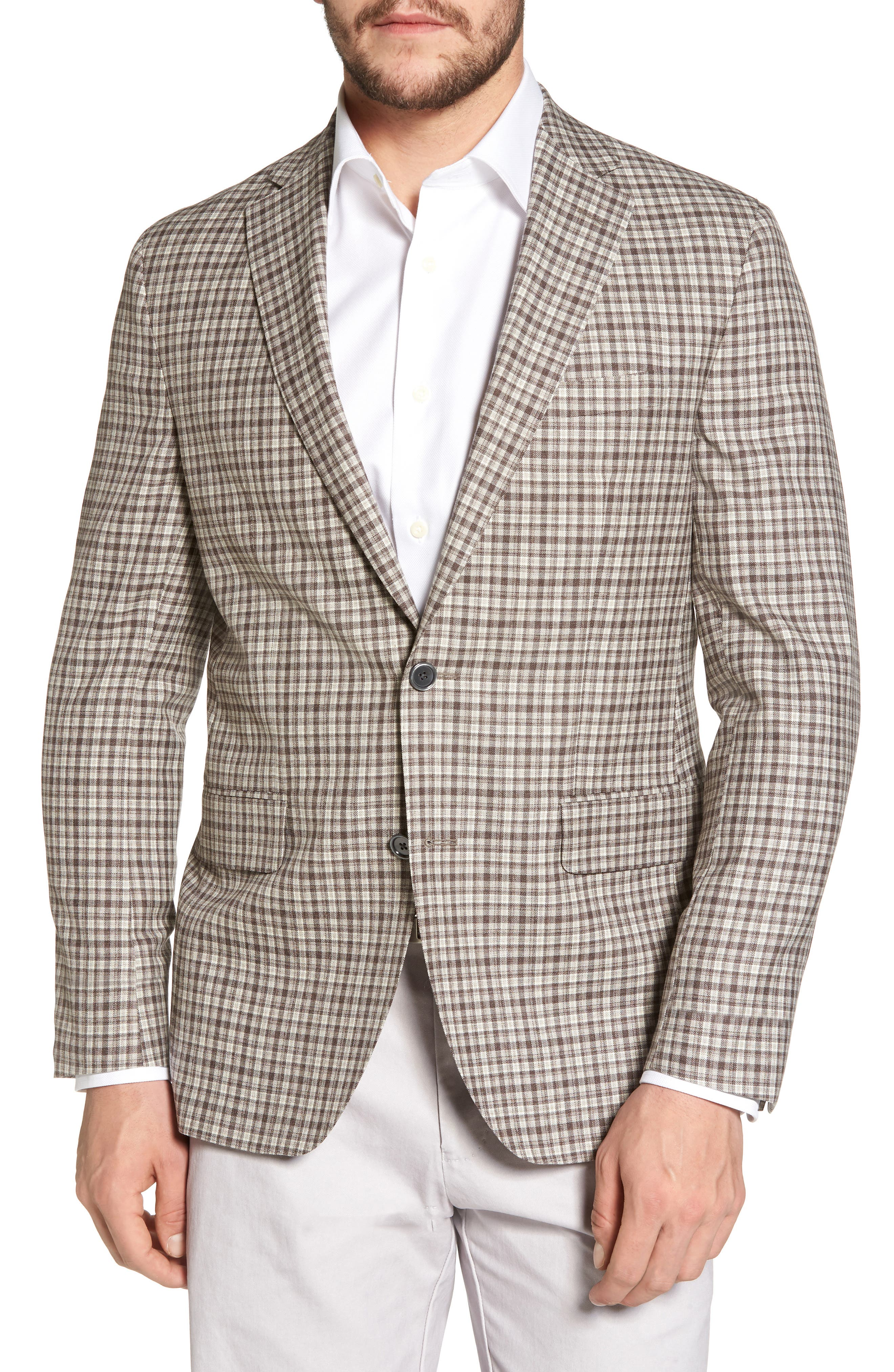 Arnold Classic Fit Plaid Wool Sport Coat,                             Main thumbnail 1, color,                             Brown