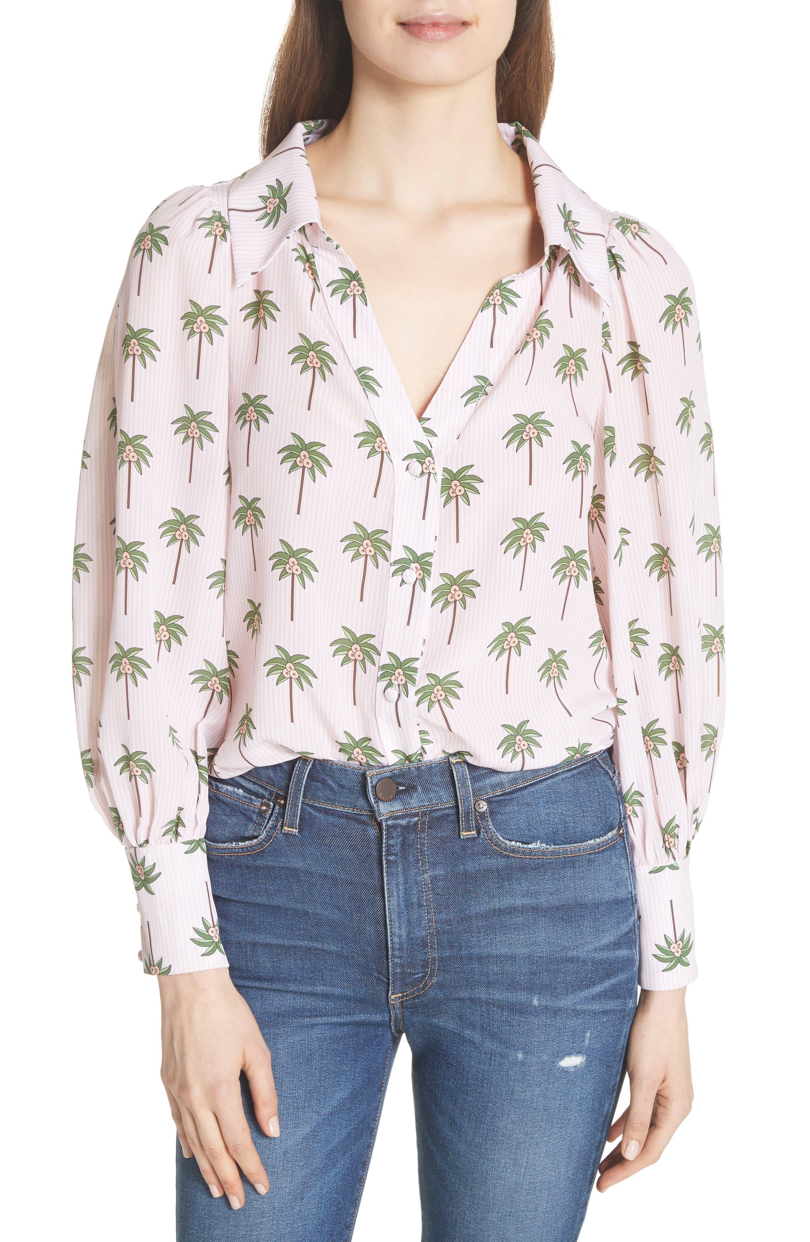 Salome Palm Print Silk Blouse,                         Main,                         color, Mini Palm