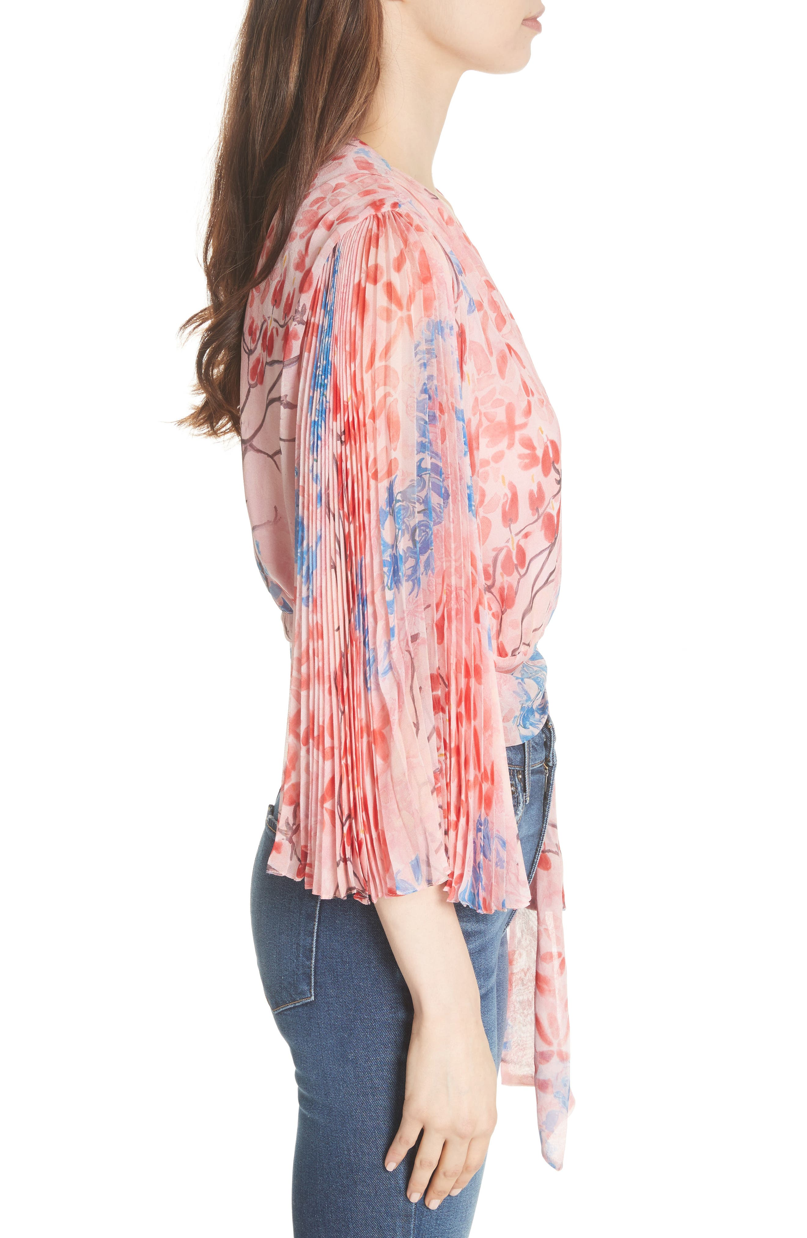 Pleat Sleeve Silk Wrap Top,                             Alternate thumbnail 3, color,                             Lola Floral