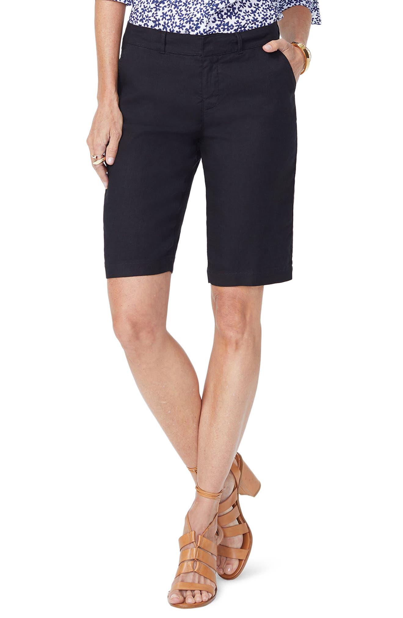 black linen shorts women's