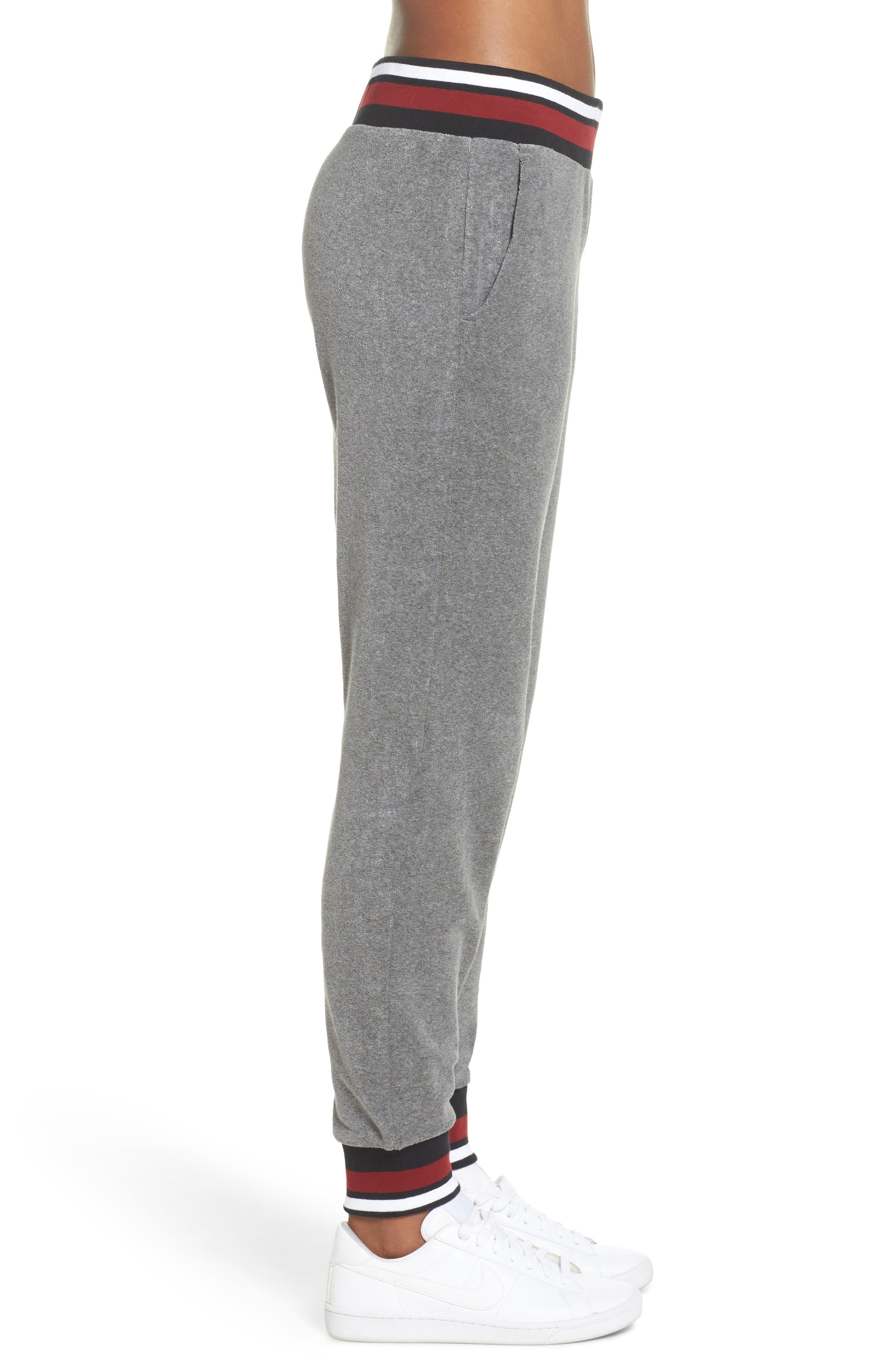 Sportswear French Terry Pants,                             Alternate thumbnail 3, color,                             Carbon Heather/ Team Red