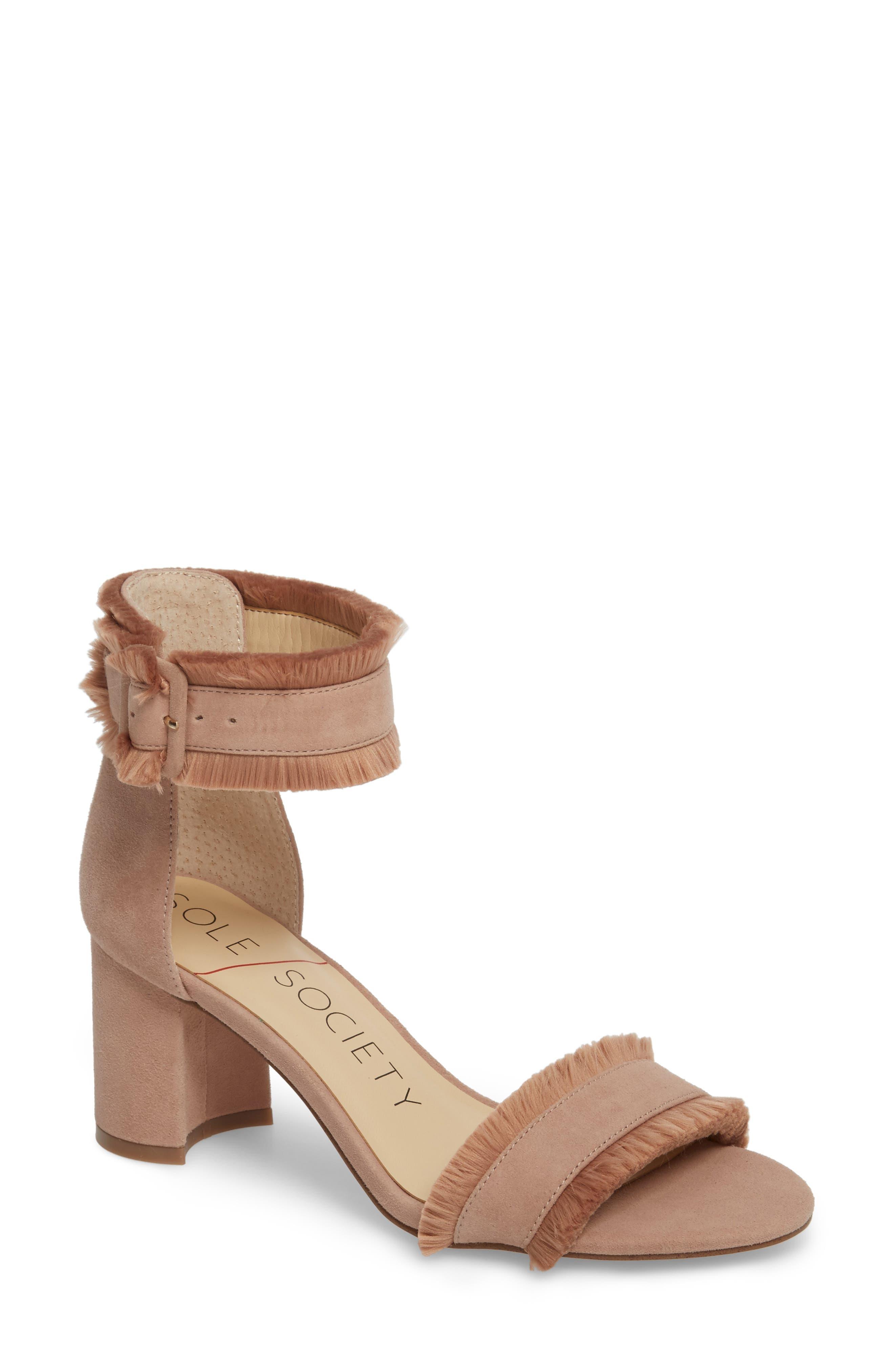 Helgah Fringe Sandal,                         Main,                         color, Dusty Rose