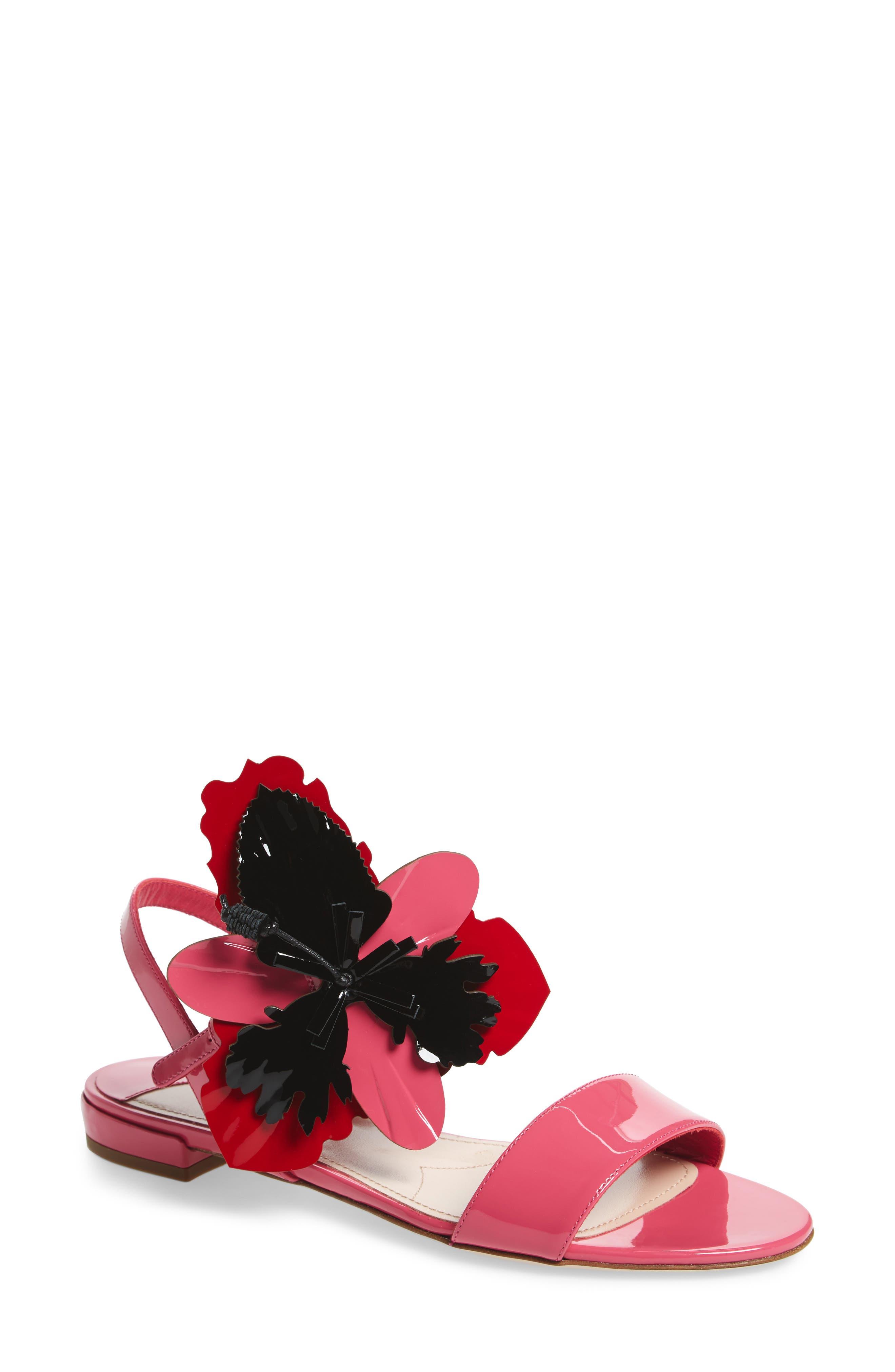 Floral Embellished Strappy Sandal,                             Main thumbnail 1, color,                             Pink