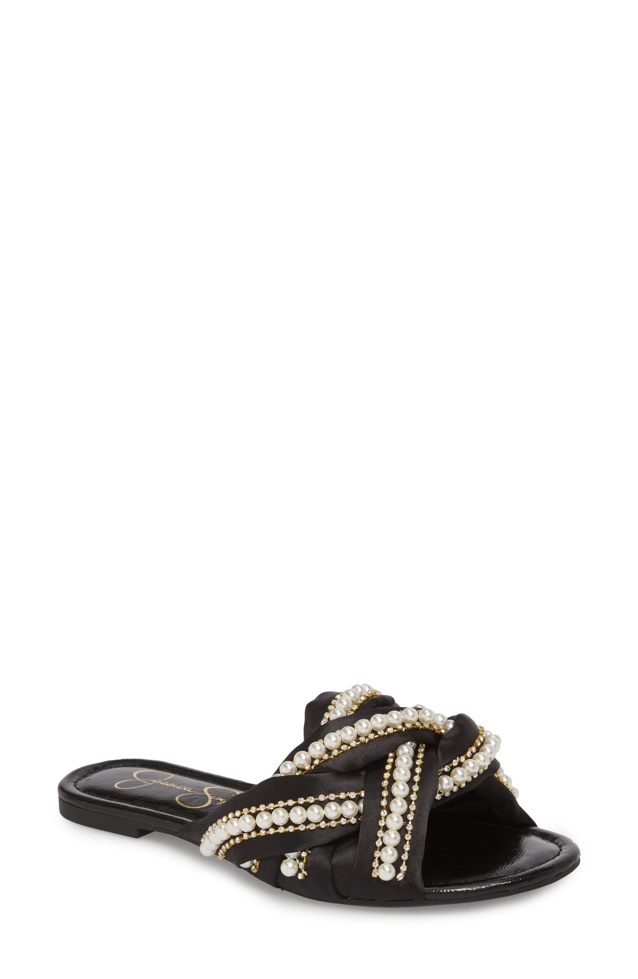 Jessica Simpson Rhondalin Embellished Slide Sandal W(omen()