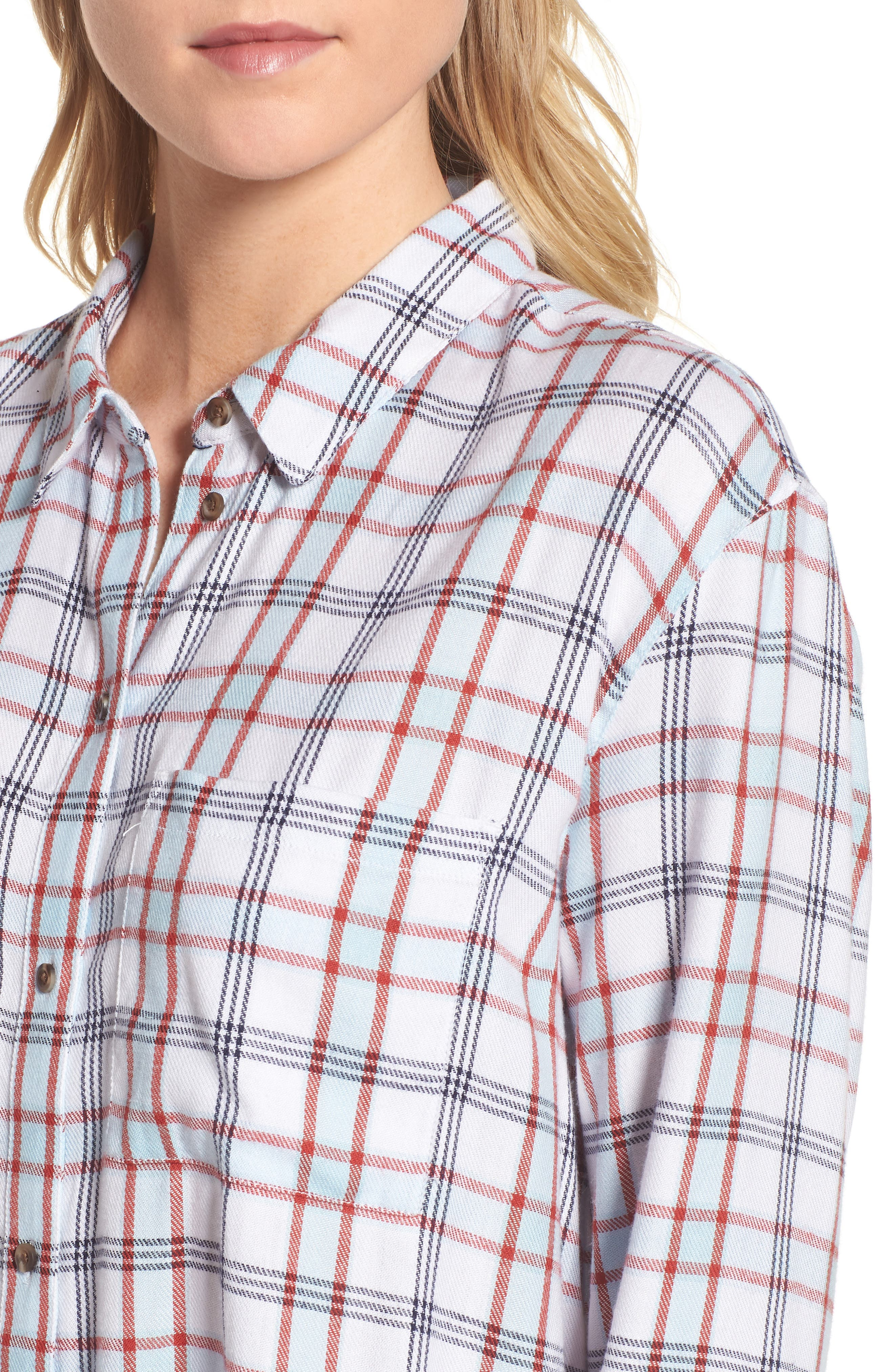 Tartan Boyfriend Shirt,                             Alternate thumbnail 4, color,                             White Weekend Tartan