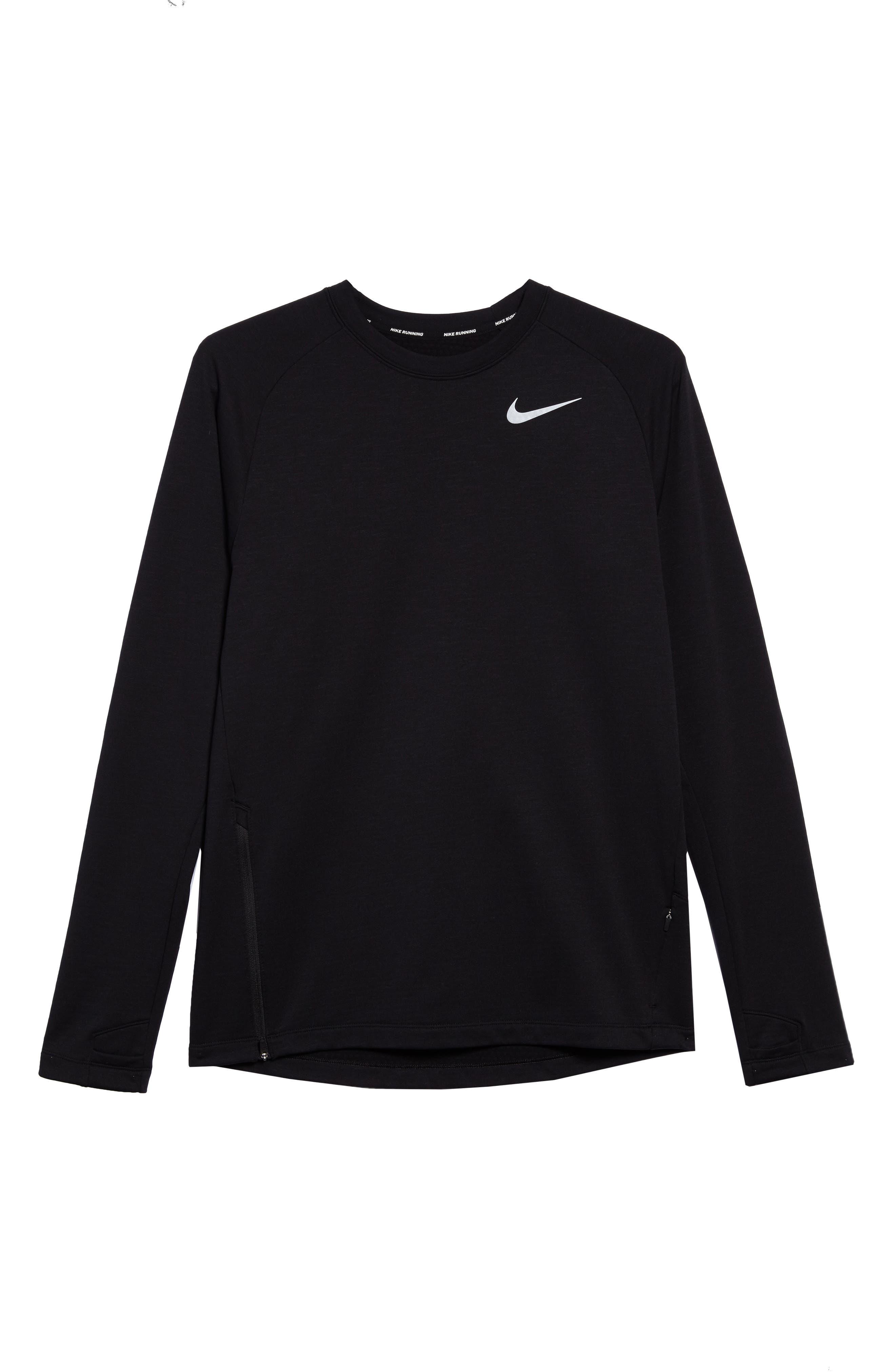 Running Element Long Sleeve T-Shirt,                             Alternate thumbnail 6, color,                             Black