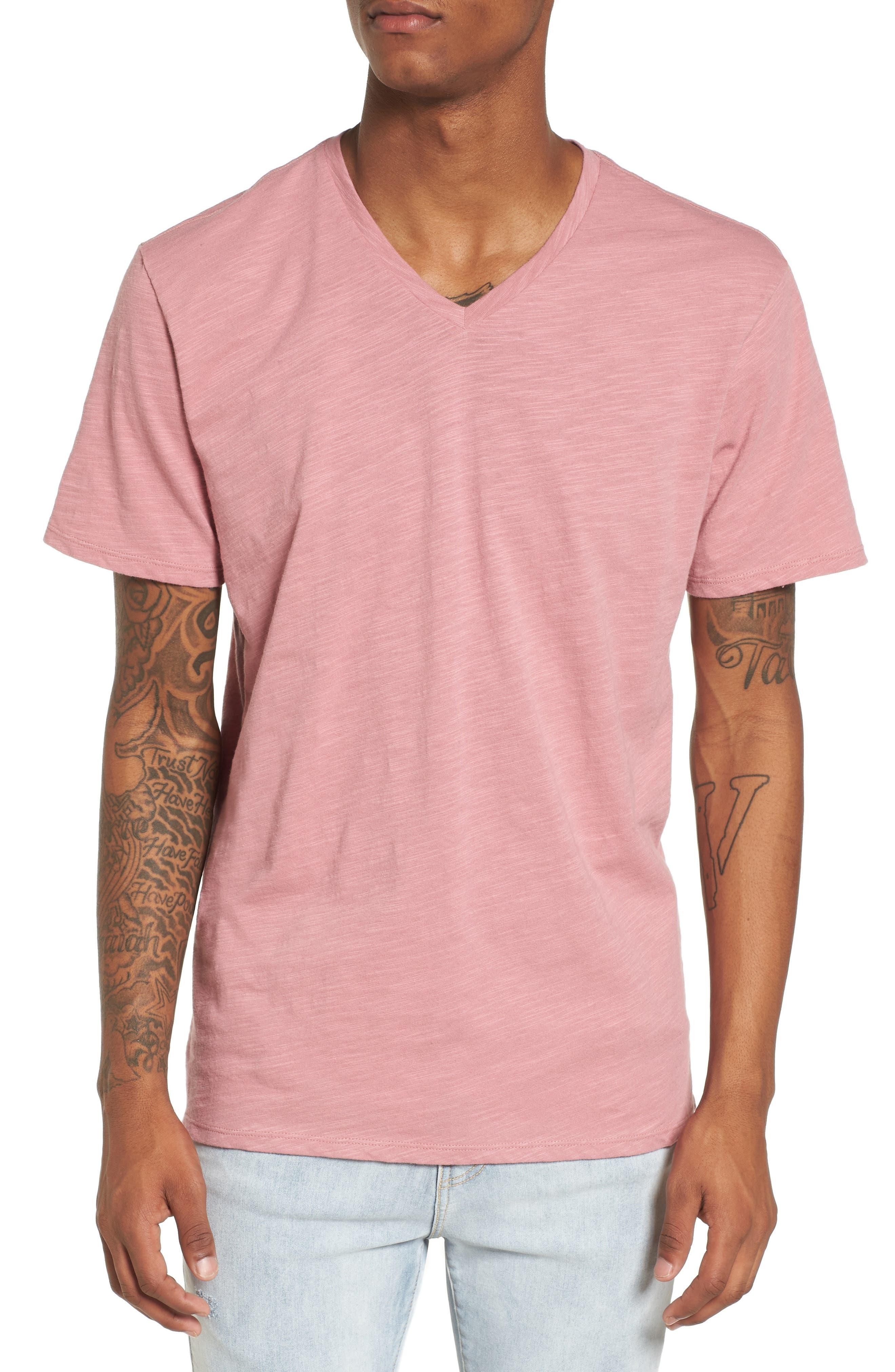 Slub Cotton V-Neck T-Shirt,                         Main,                         color, Pink Foxglove