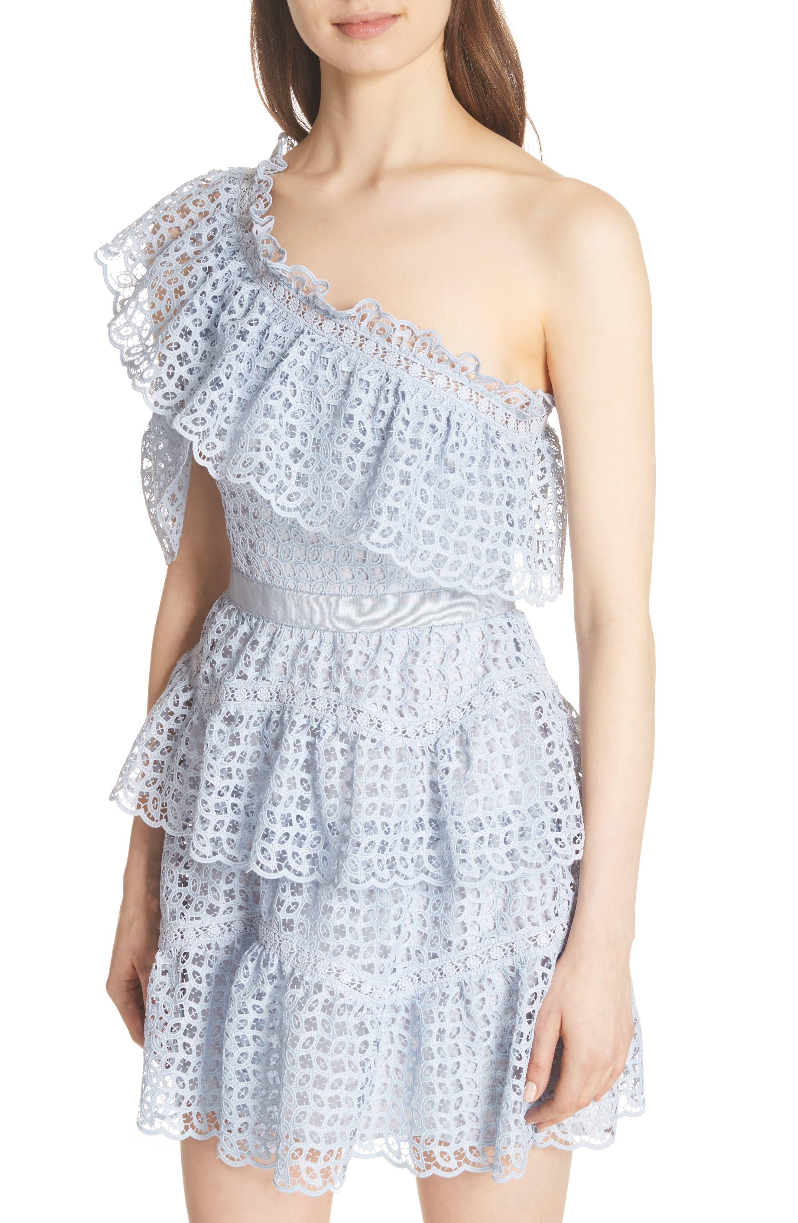 One-Shoulder Cutwork Organza Dress,                             Alternate thumbnail 4, color,                             Pale Blue