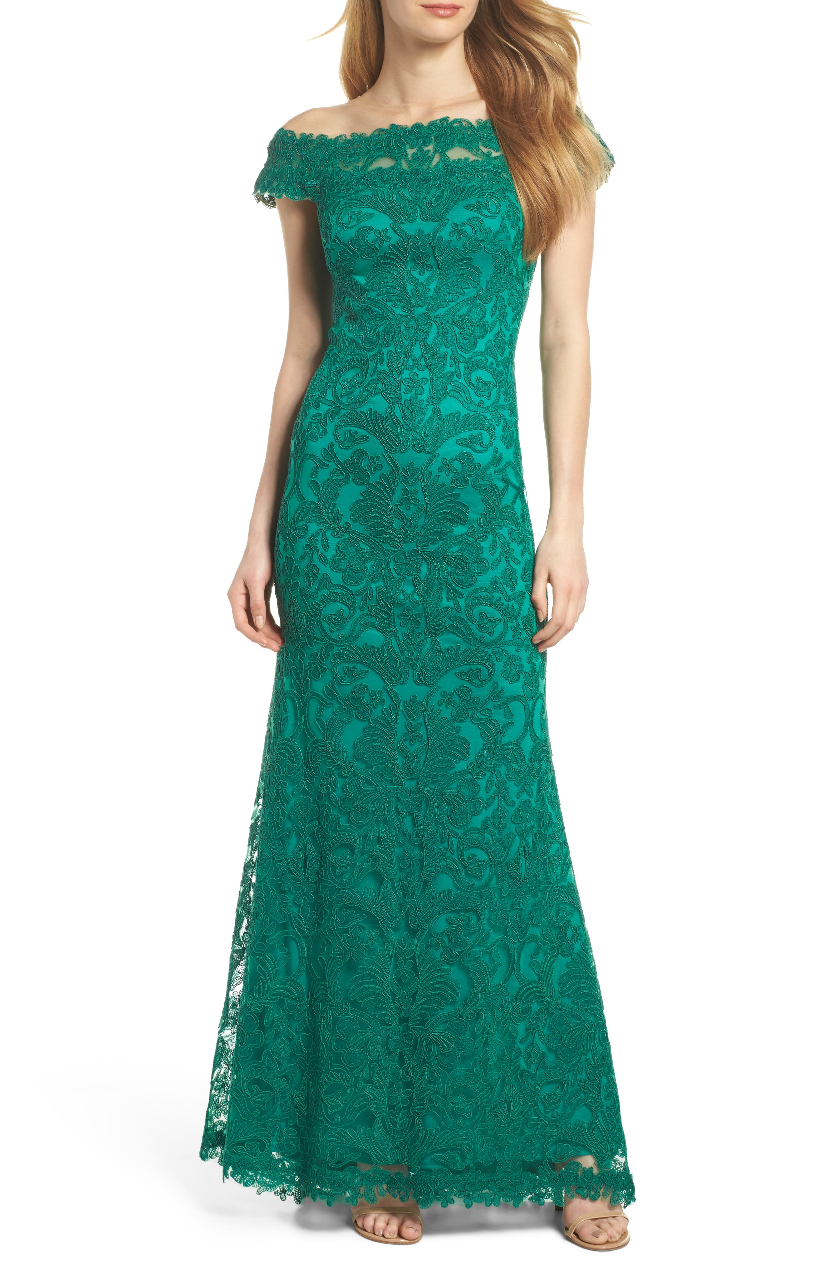Illusion Off the Shoulder Lace Trumpet Gown,                         Main,                         color, Deep Emerald