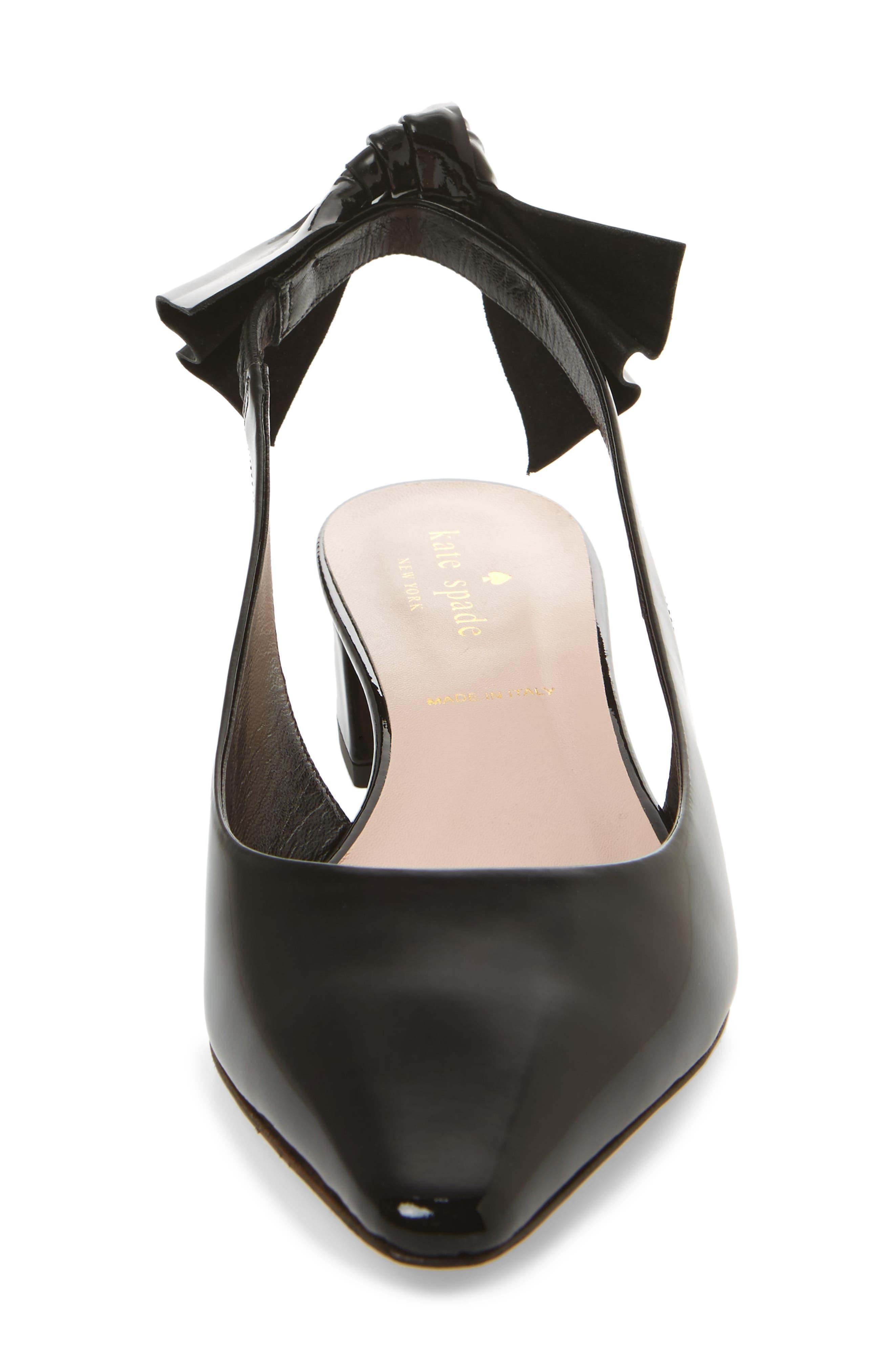 bow slingback pump,                             Alternate thumbnail 4, color,                             Black