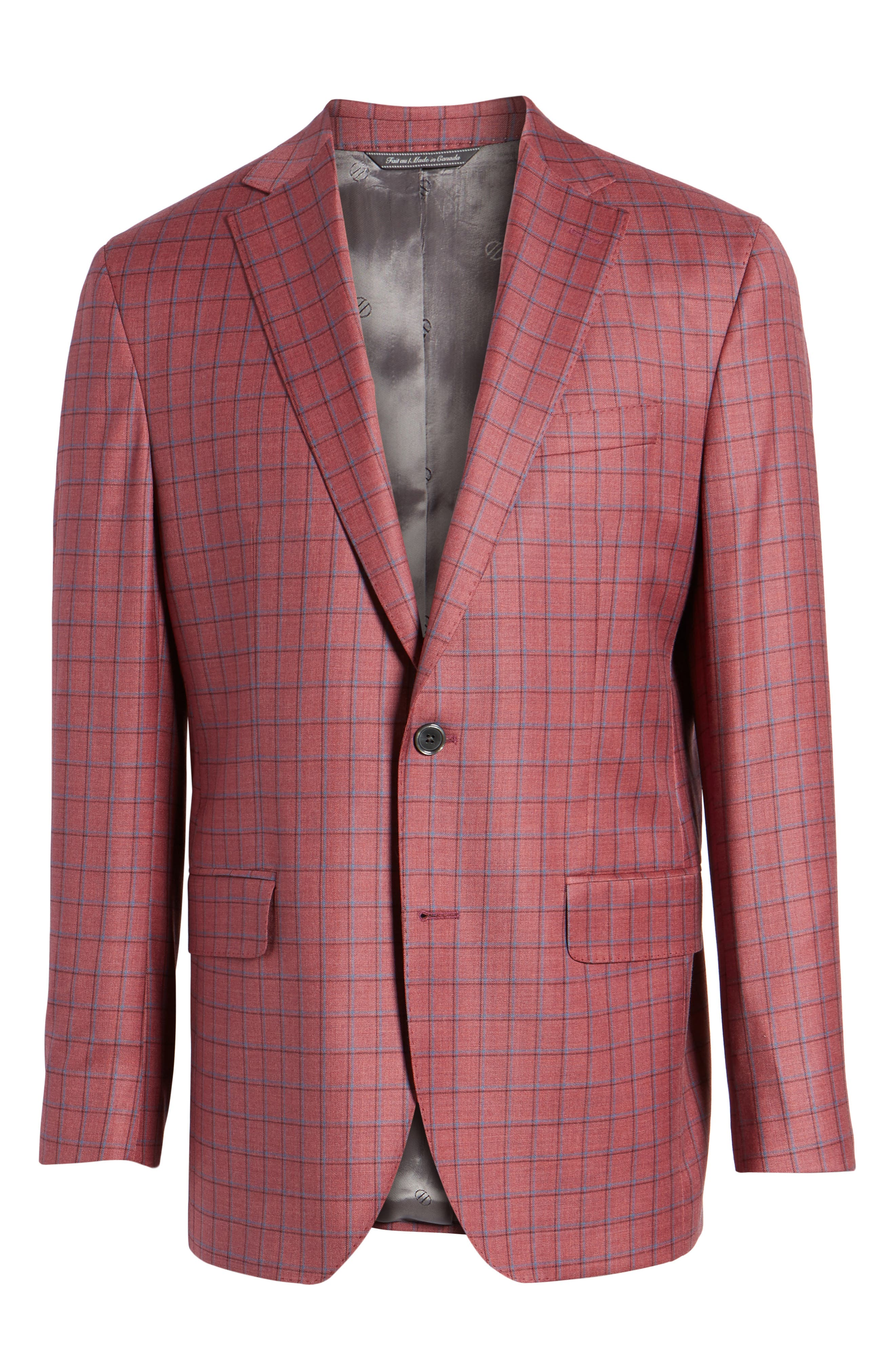 Arnold Classic Fit Plaid Wool Sport Coat,                             Alternate thumbnail 6, color,                             Red