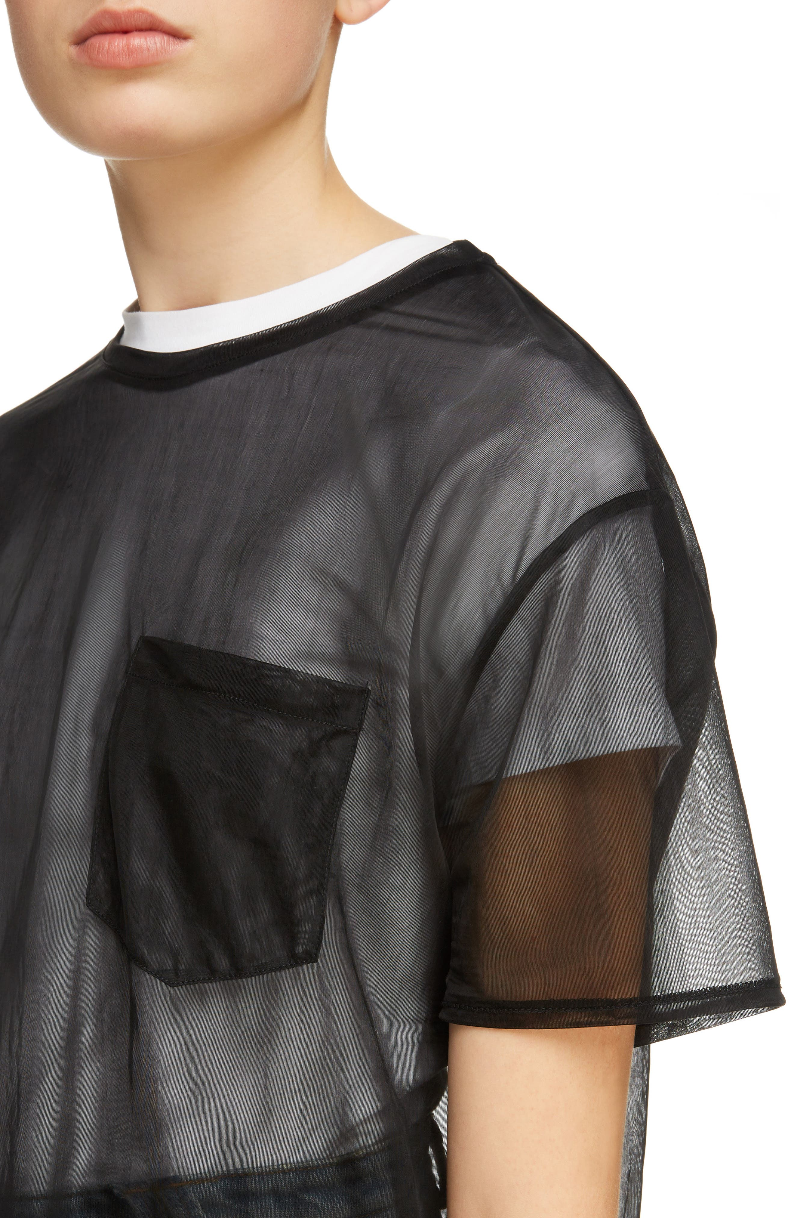 Batumy Mesh Pocket Tee,                             Alternate thumbnail 4, color,                             Black