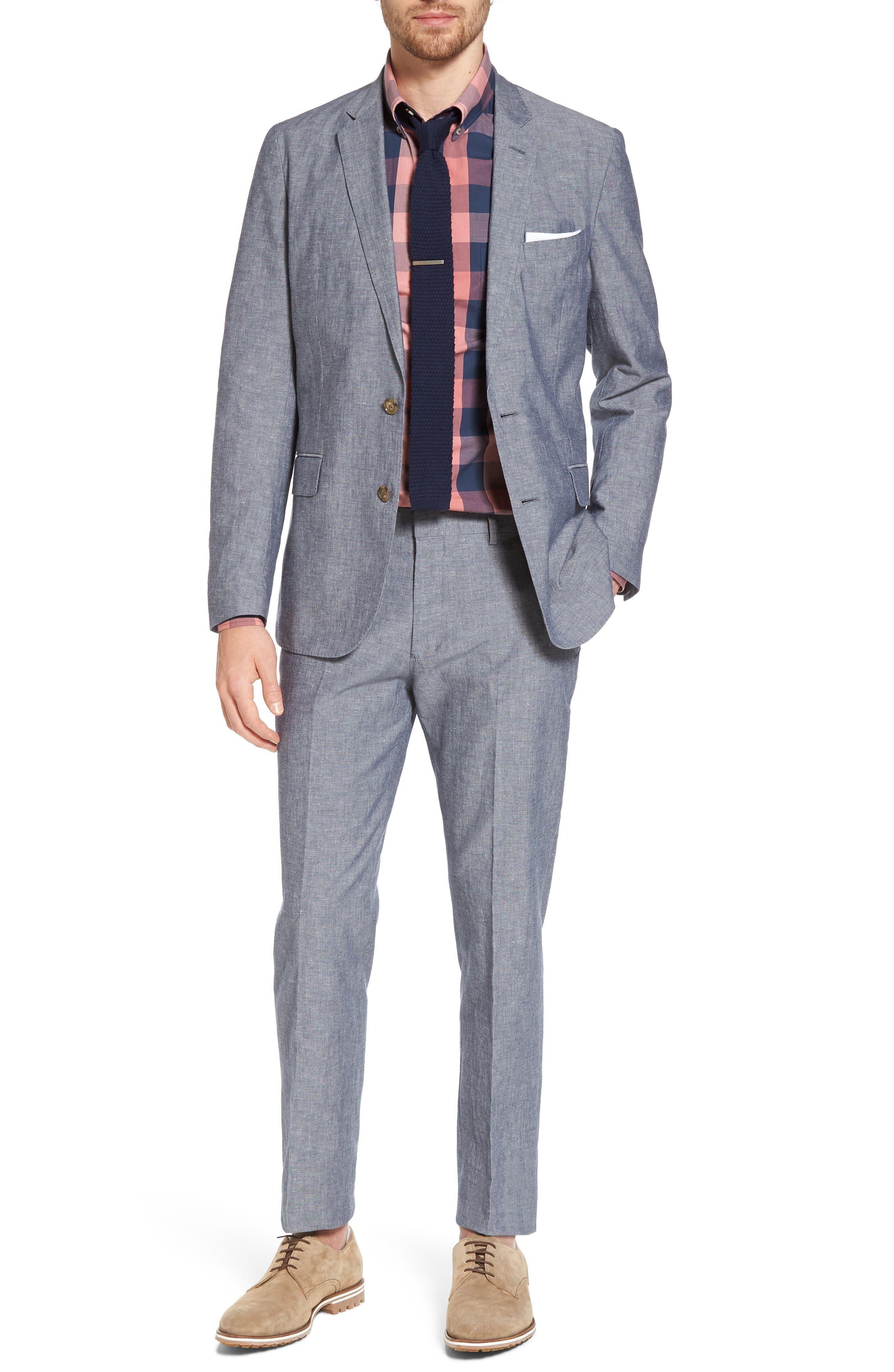 Ludlow Trim Fit Cotton & Linen Suit Pants,                             Alternate thumbnail 6, color,                             Deep Water Blue