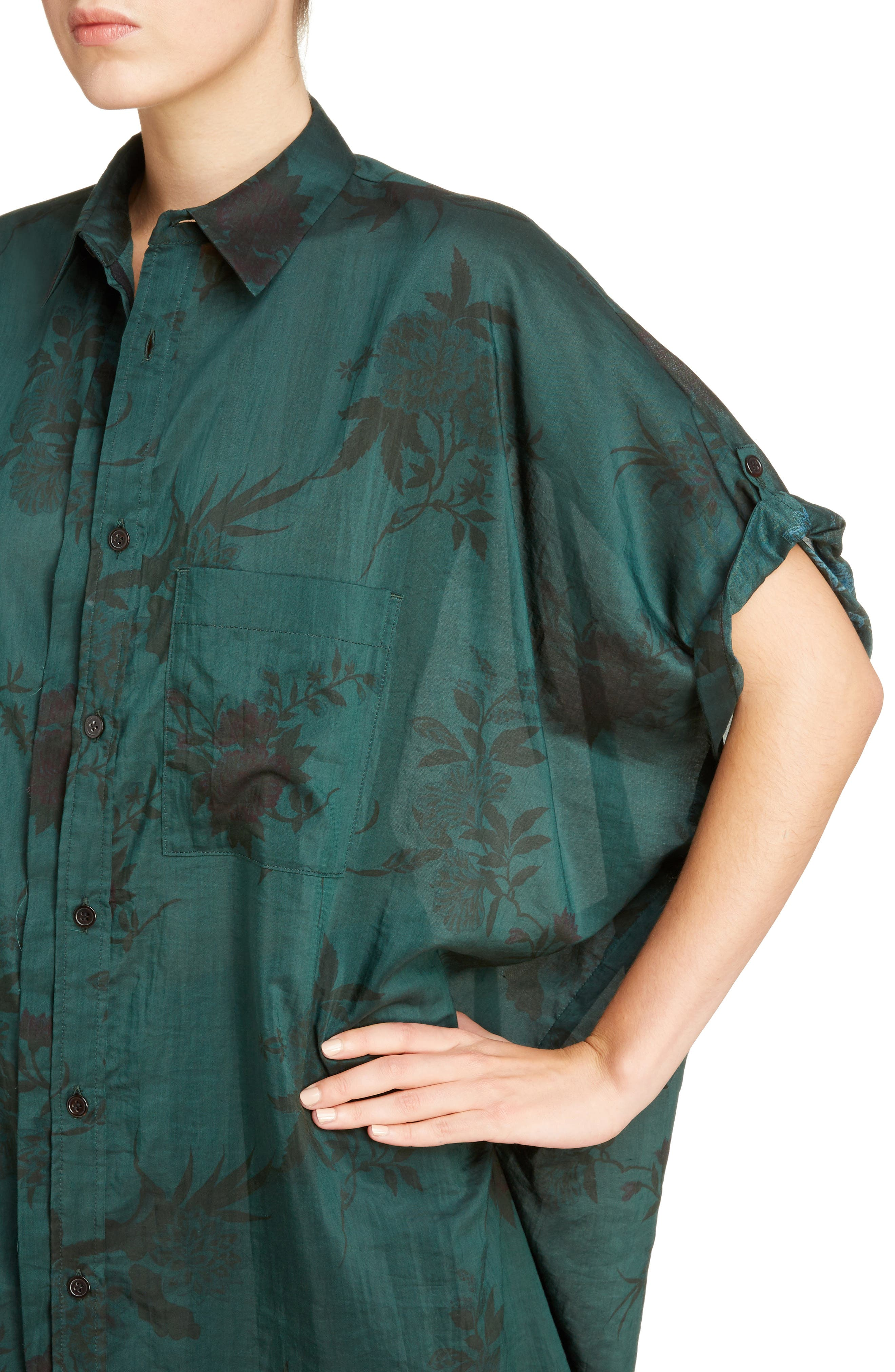Floral Print Shirt,                             Alternate thumbnail 4, color,                             Green