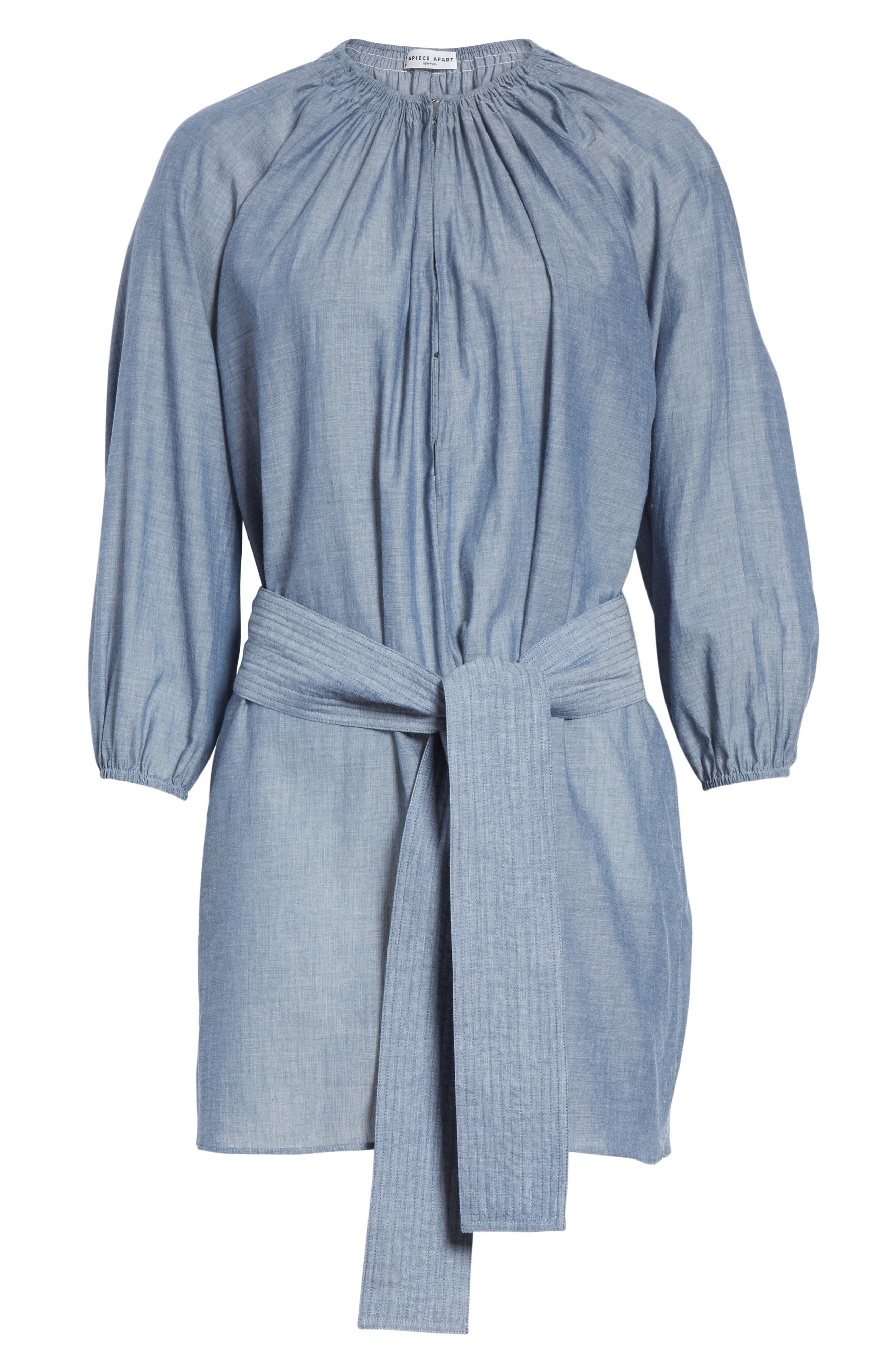 Isla Chambray Tie Waist Romper,                             Alternate thumbnail 6, color,                             Chambray