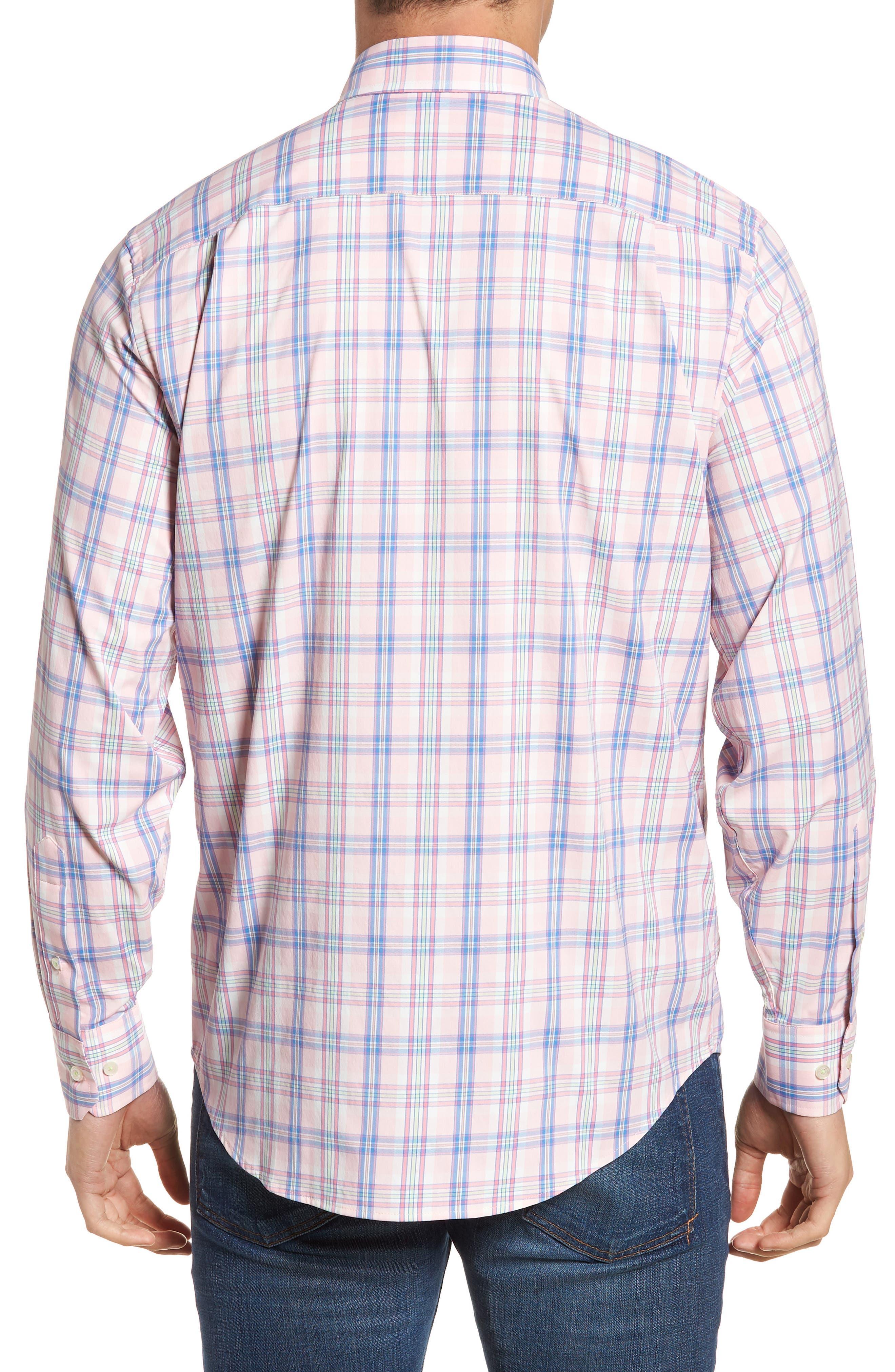 Great Harbor Regular Fit Plaid Stretch Sport Shirt,                             Alternate thumbnail 3, color,                             Lt. Pink