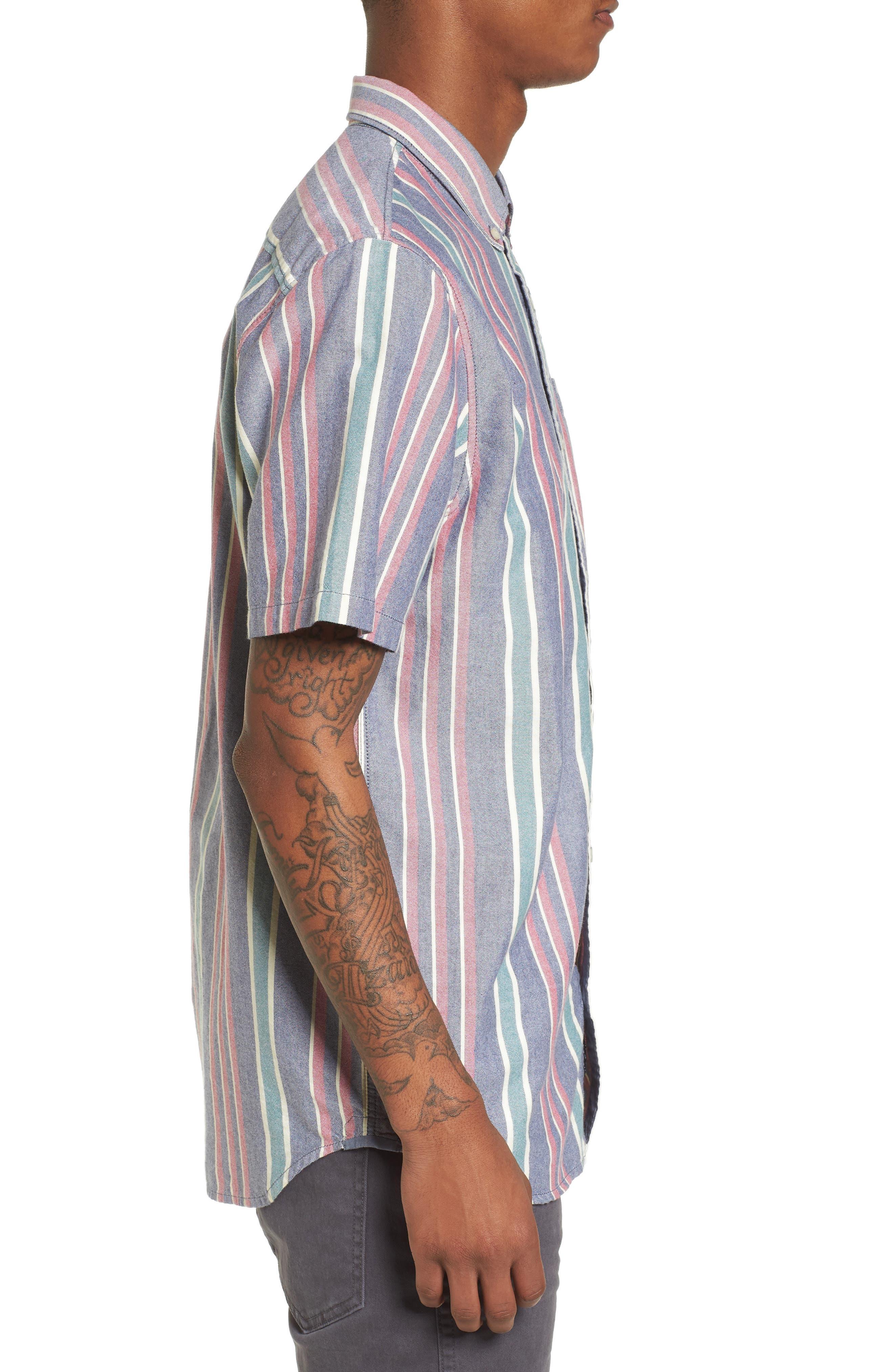 Houser Short Sleeve Shirt,                             Alternate thumbnail 3, color,                             Dress Blues/ Evergreen