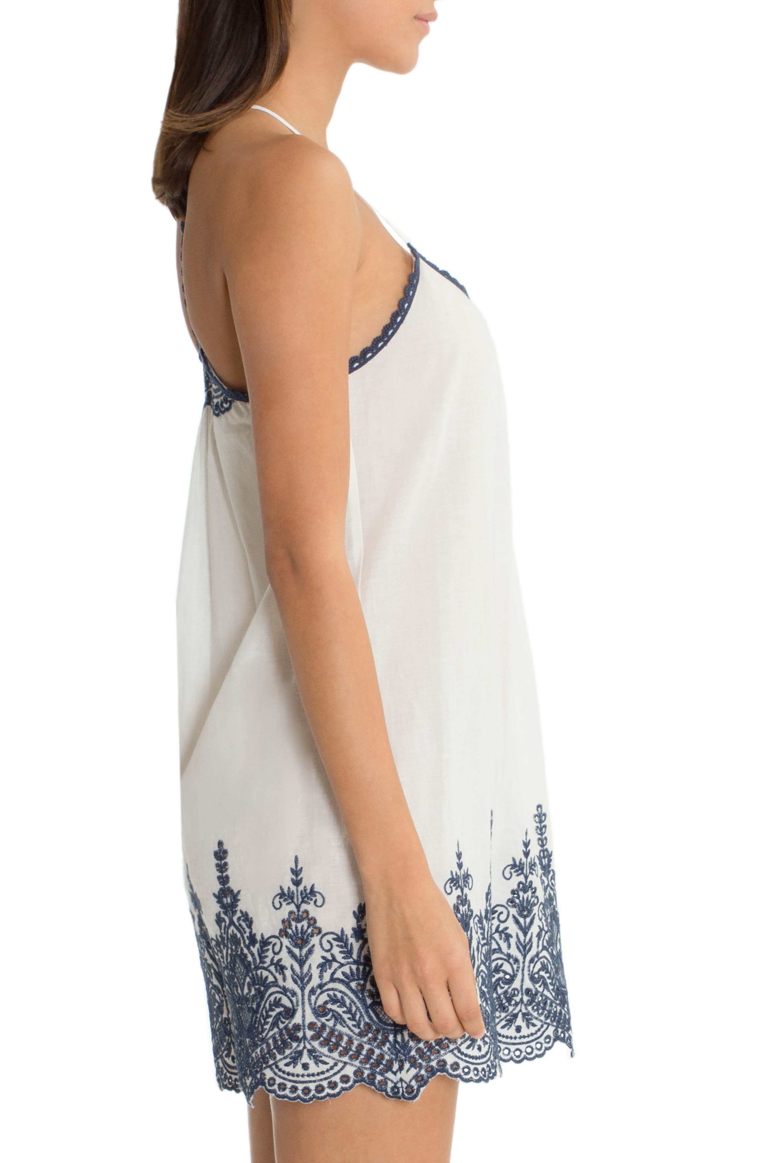 Embroidered Chemise,                             Alternate thumbnail 3, color,                             Ivory/ Navy