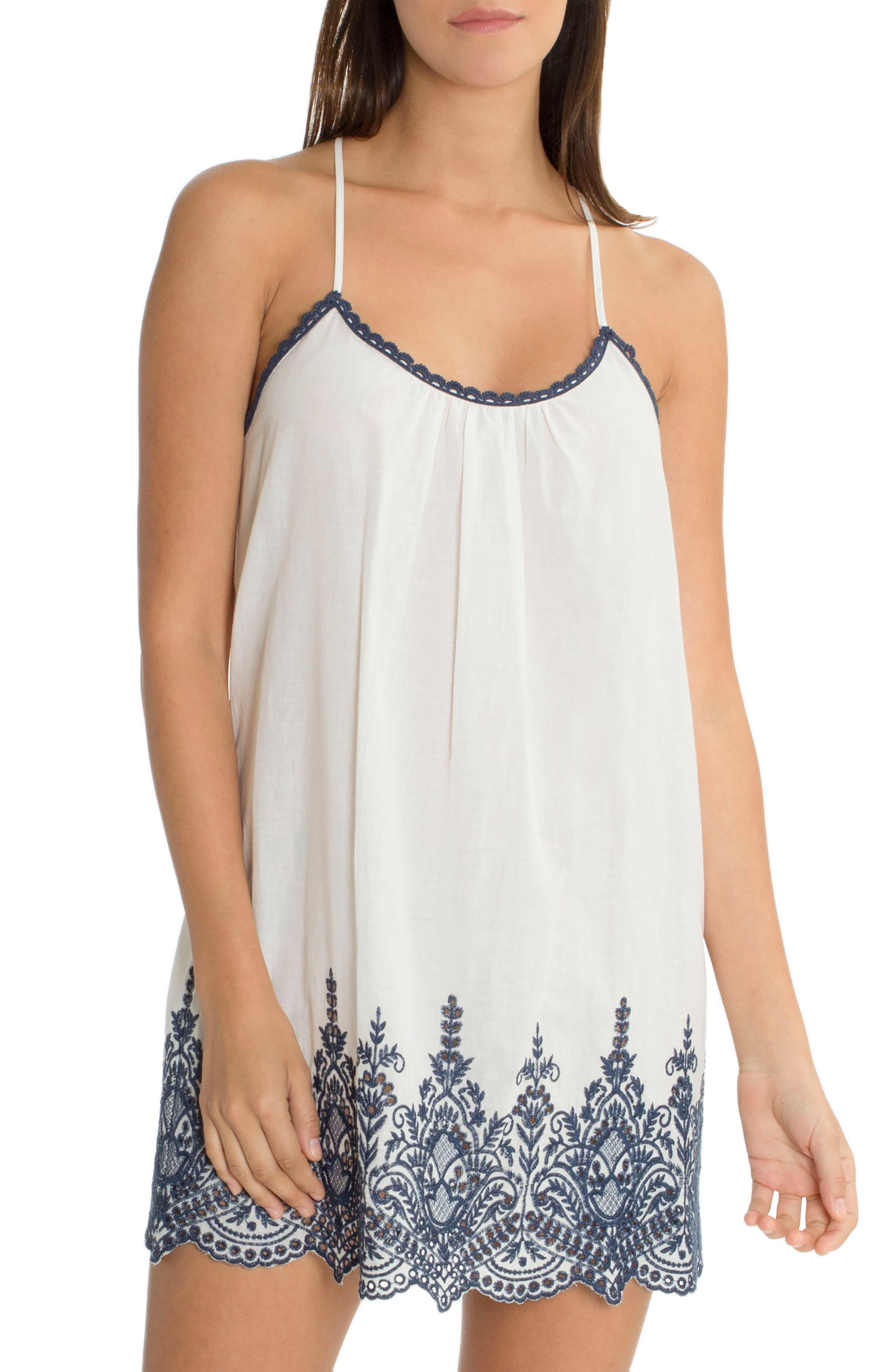 Embroidered Chemise,                         Main,                         color, Ivory/ Navy