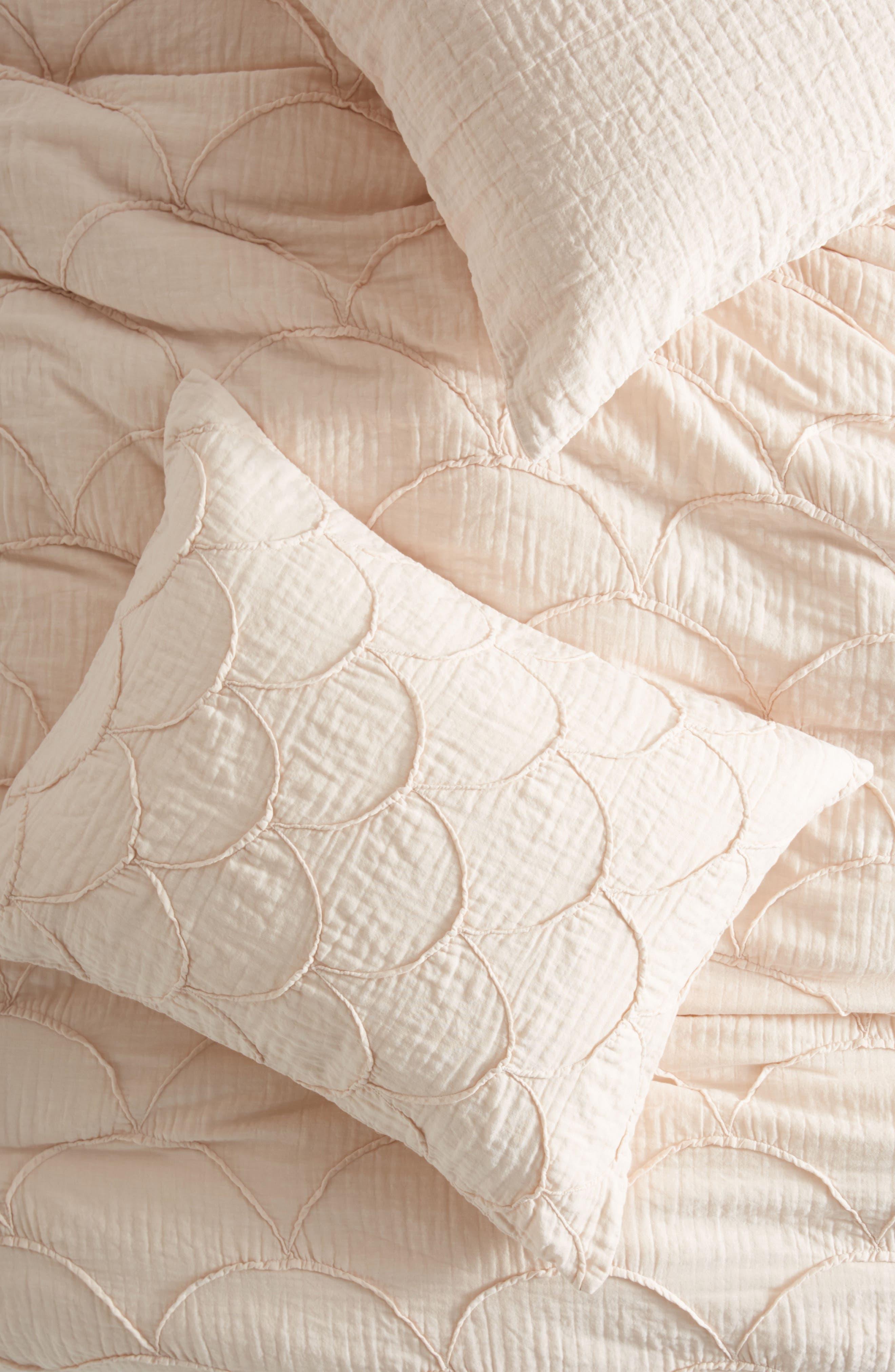 Riji Pillow Shams,                         Main,                         color, Peach