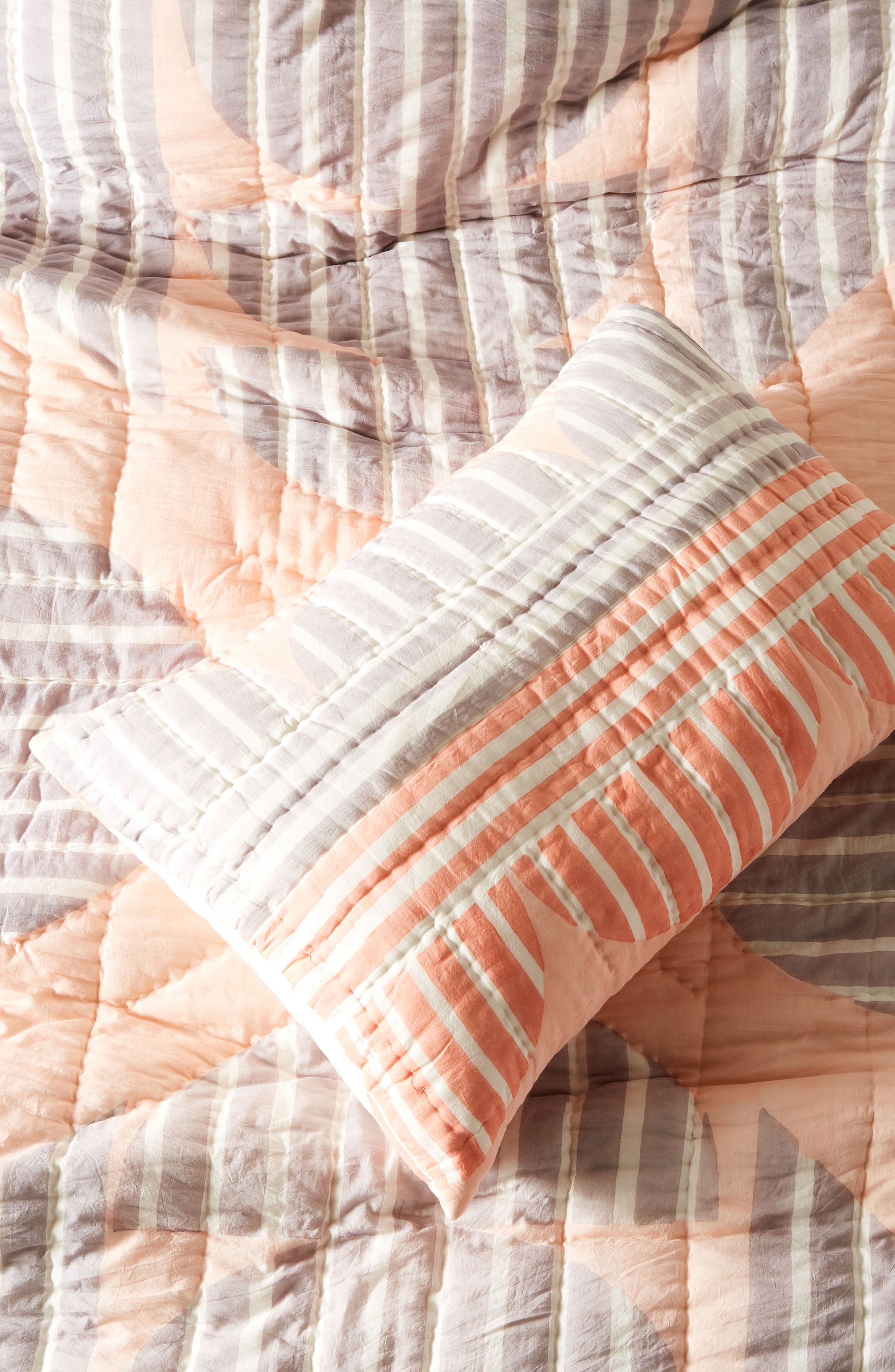 Stripe Geo Pillow Shams,                         Main,                         color, Pink