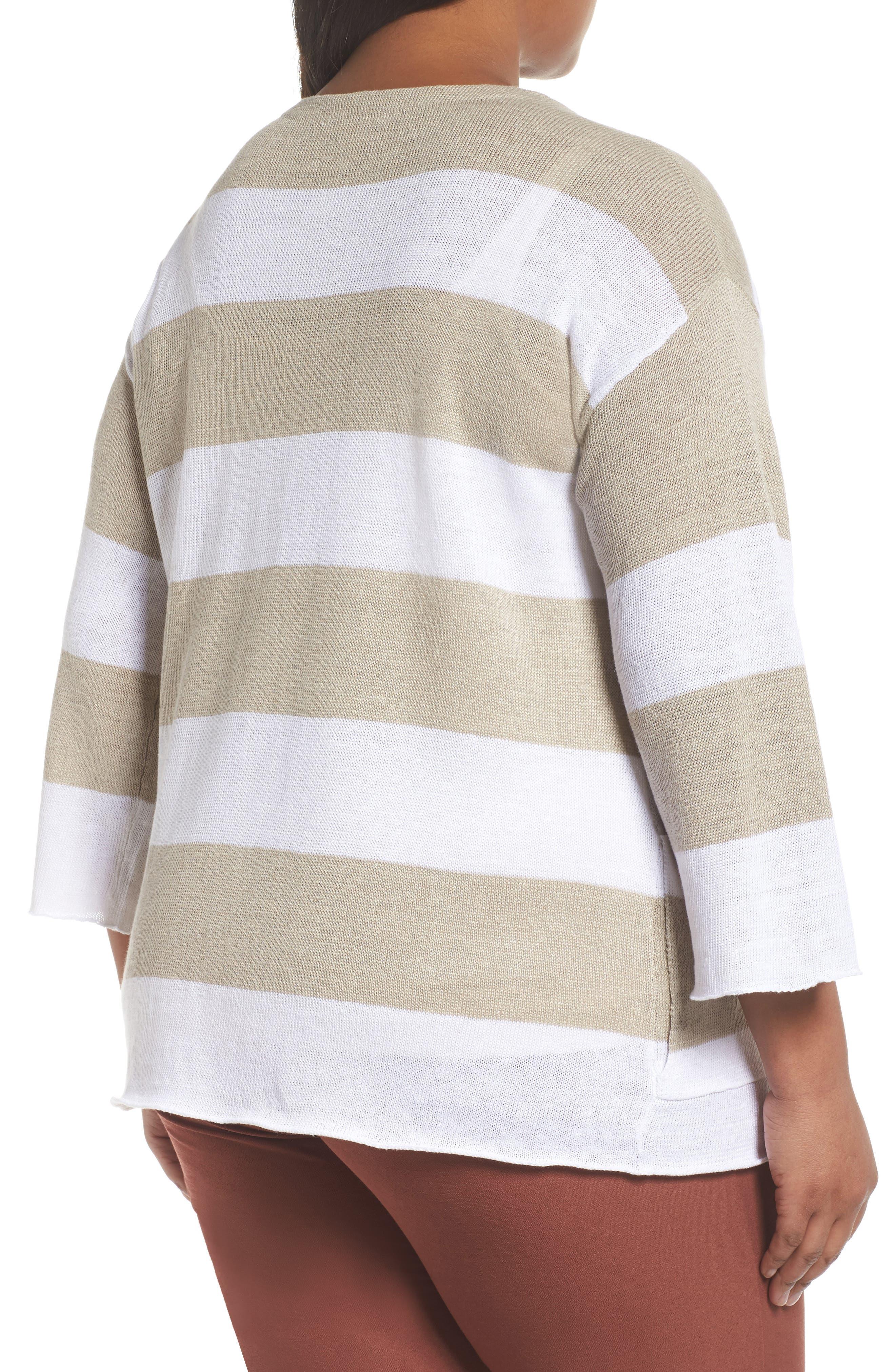 Stripe Linen Sweater,                             Alternate thumbnail 2, color,                             White/ Natural