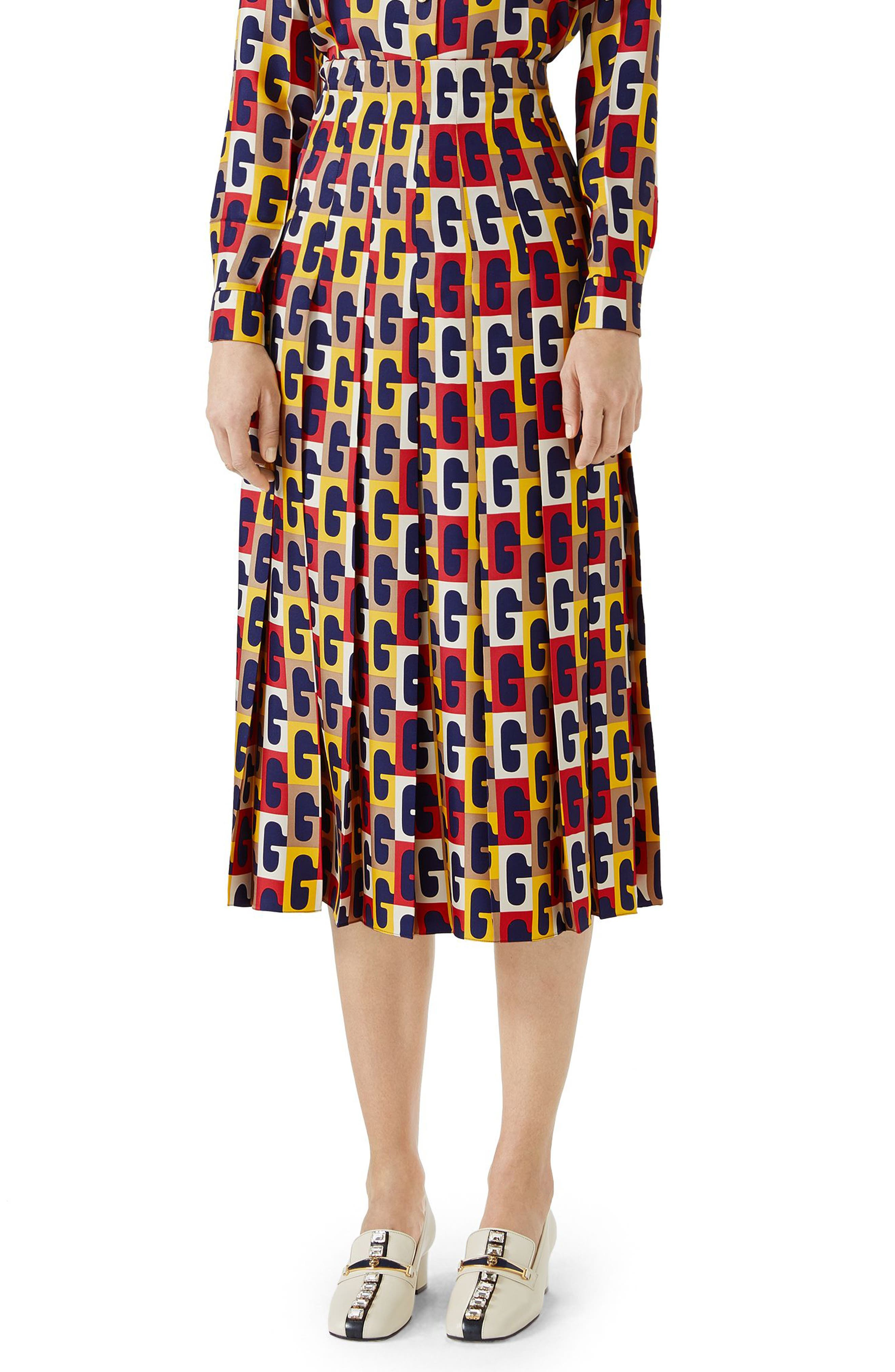 G-Sequence Print Silk Skirt,                             Main thumbnail 1, color,                             Ivory/ Yellow/ Red Print