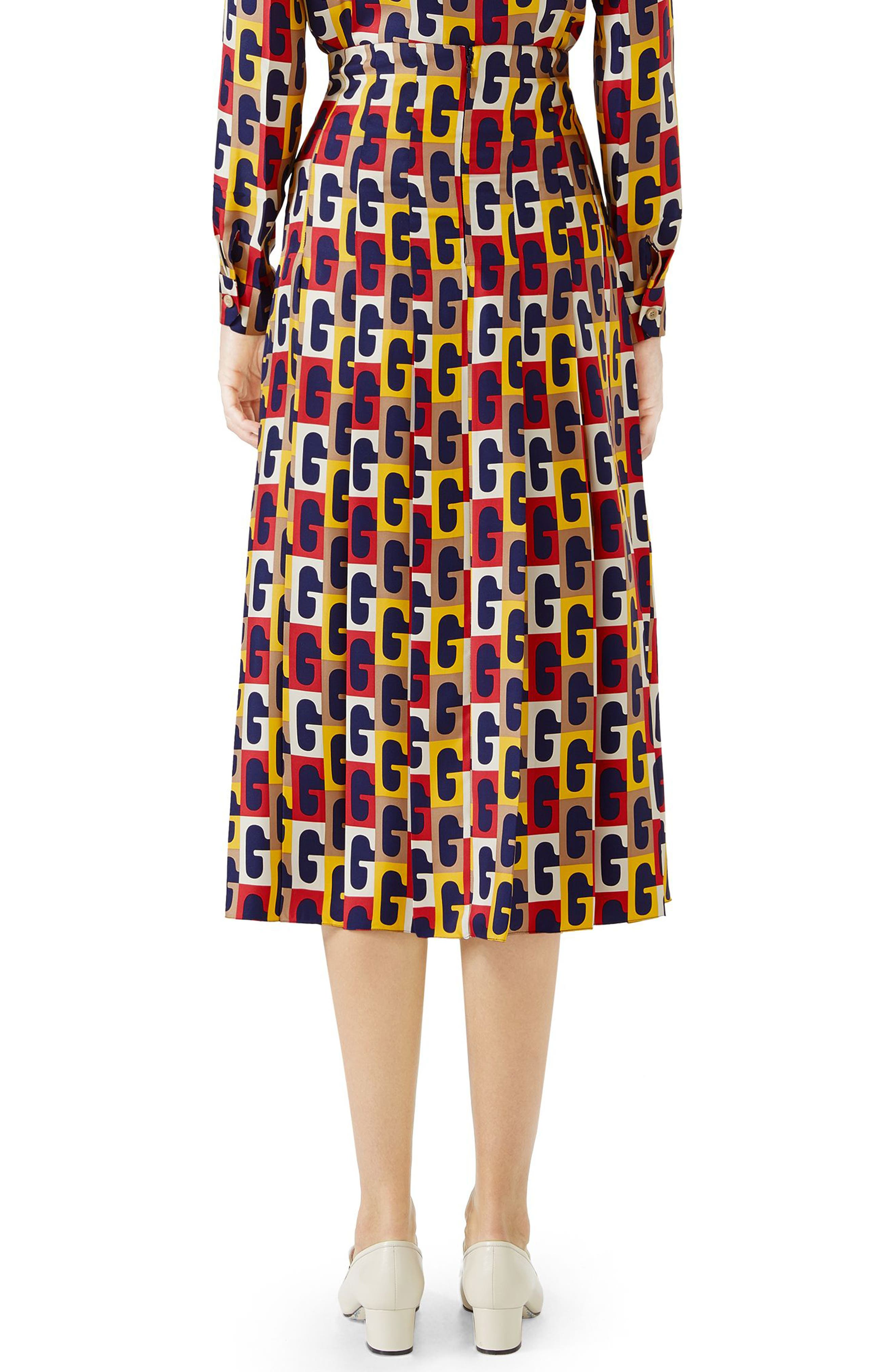 G-Sequence Print Silk Skirt,                             Alternate thumbnail 2, color,                             Ivory/ Yellow/ Red Print