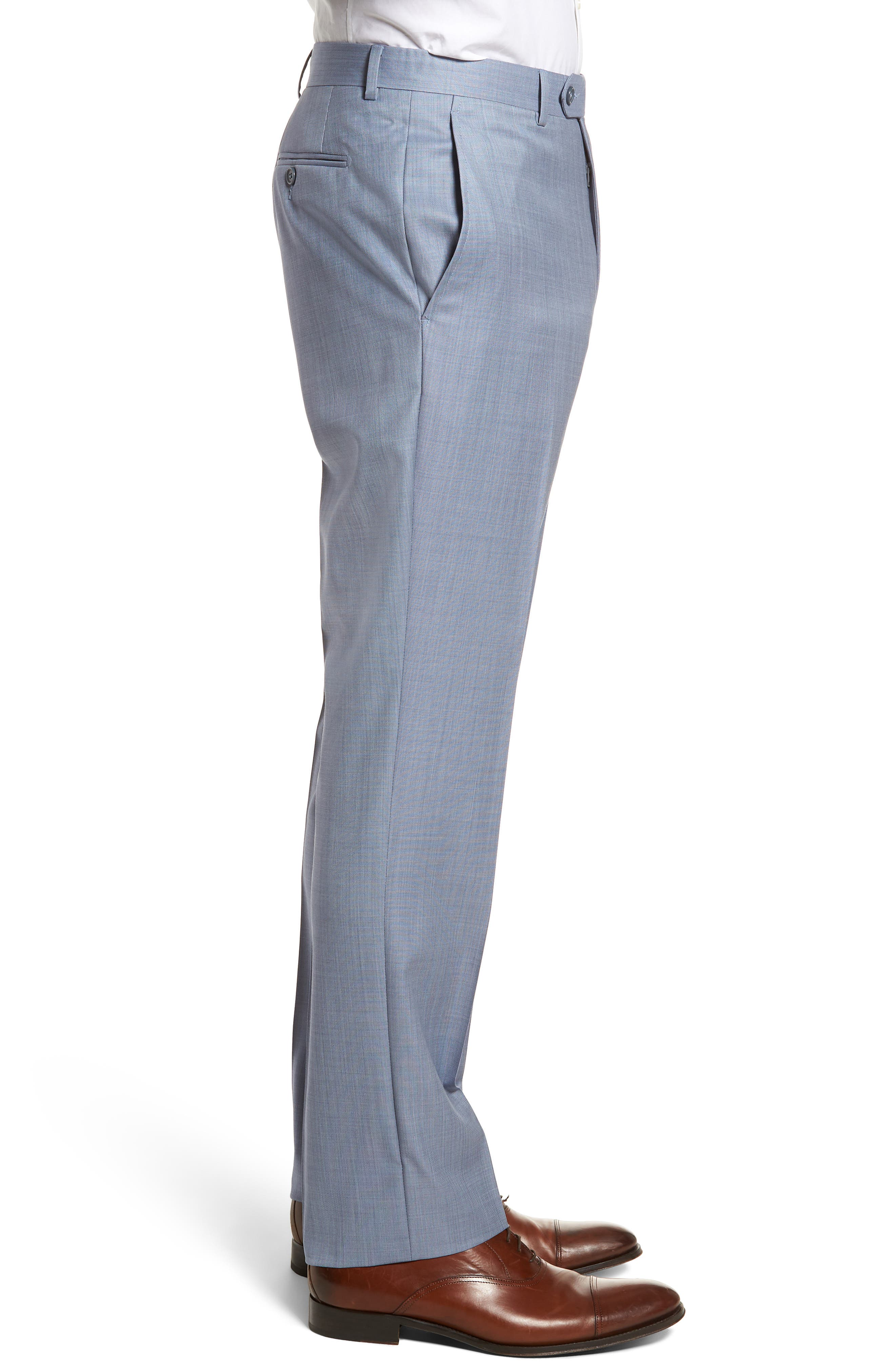 Flat Front Solid Wool Trousers,                             Alternate thumbnail 3, color,                             Soft Blue