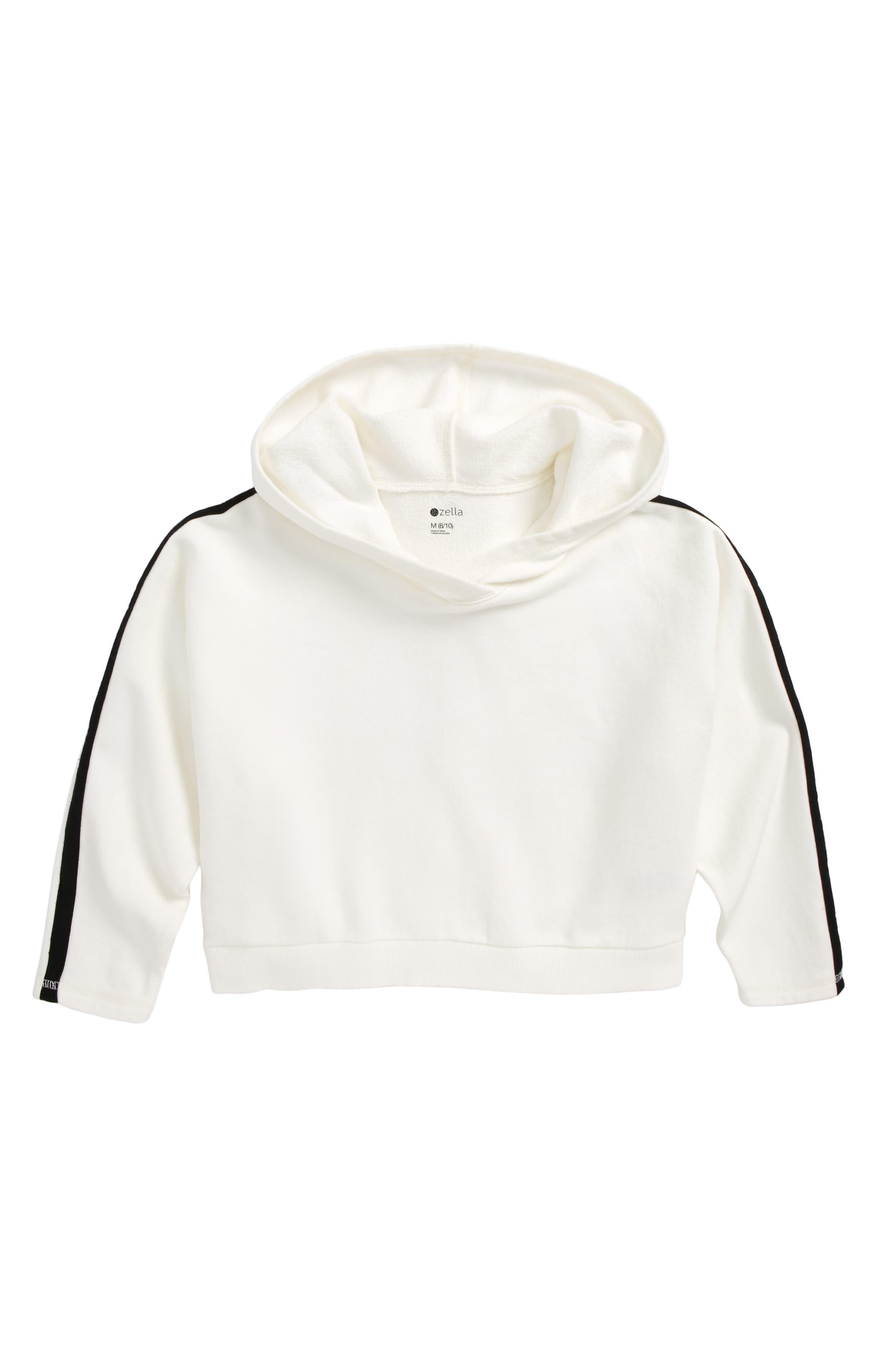 Fleece Crop Hoodie,                         Main,                         color, White