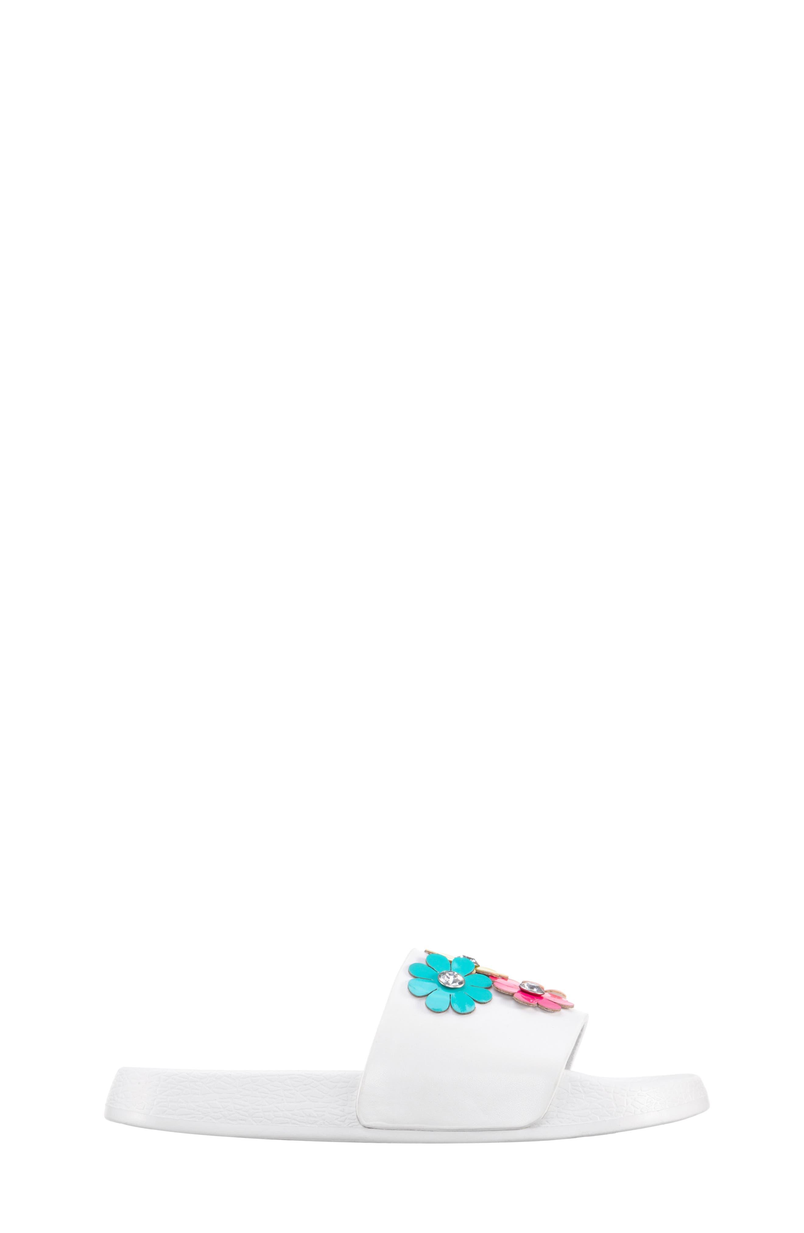 Flowermaid Embellished Slide Sandal,                             Alternate thumbnail 2, color,                             White Smooth