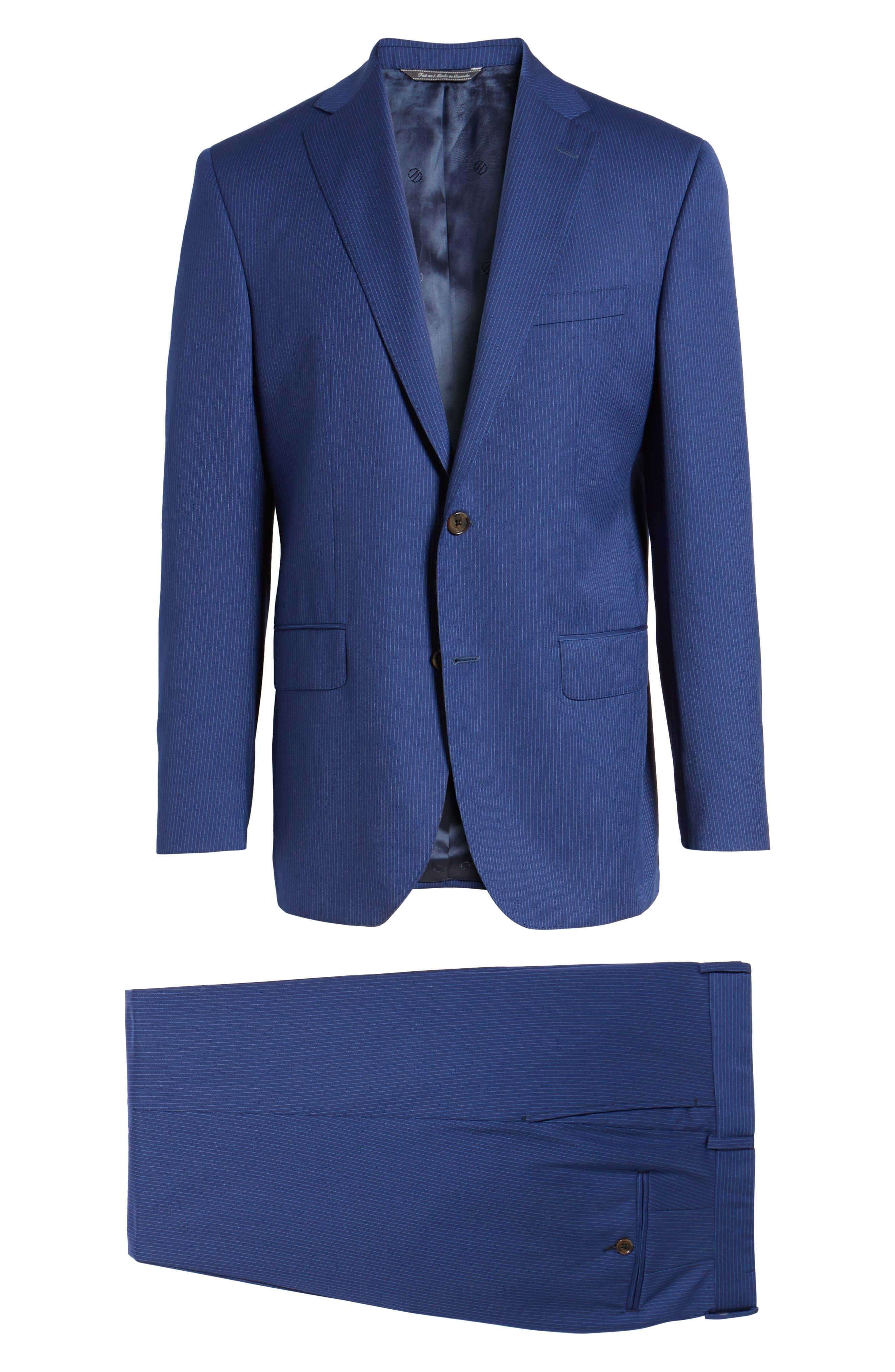 Ryan Classic Fit Stripe Wool Suit,                             Alternate thumbnail 8, color,                             Medium Blue