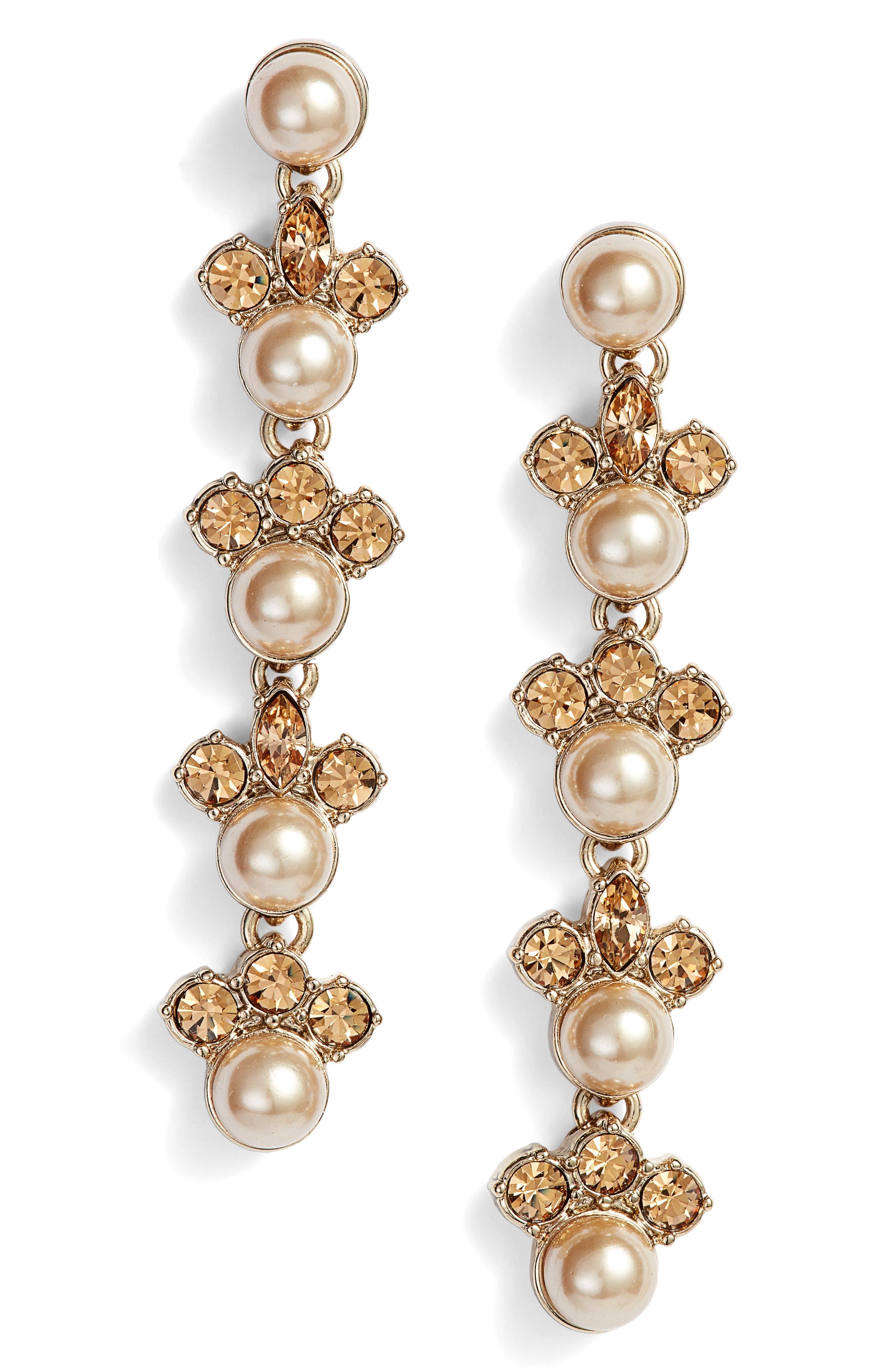 Linear Imitation Pearl Drop Earrings,                         Main,                         color, Gold/ Blush/ Crystal