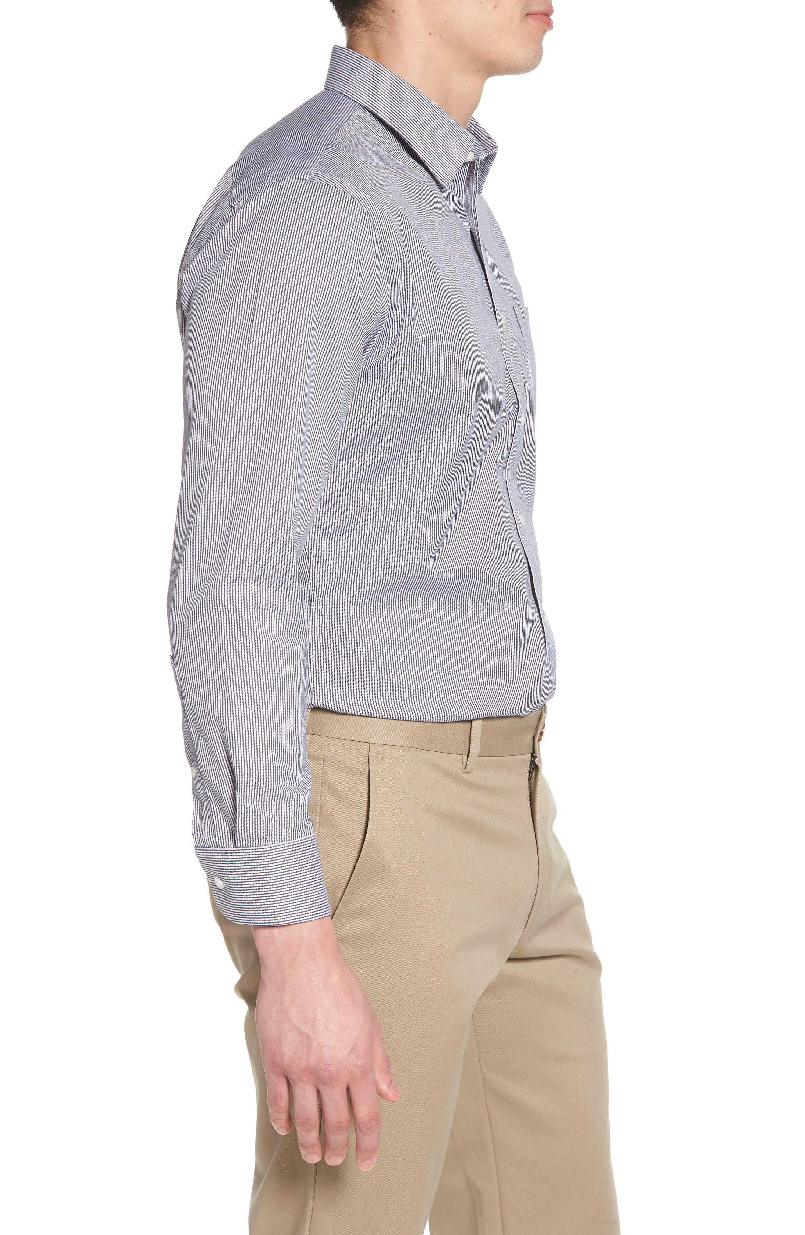 Smartcare<sup>™</sup> Trim Fit Stripe Dress Shirt,                             Alternate thumbnail 4, color,                             Black Rock