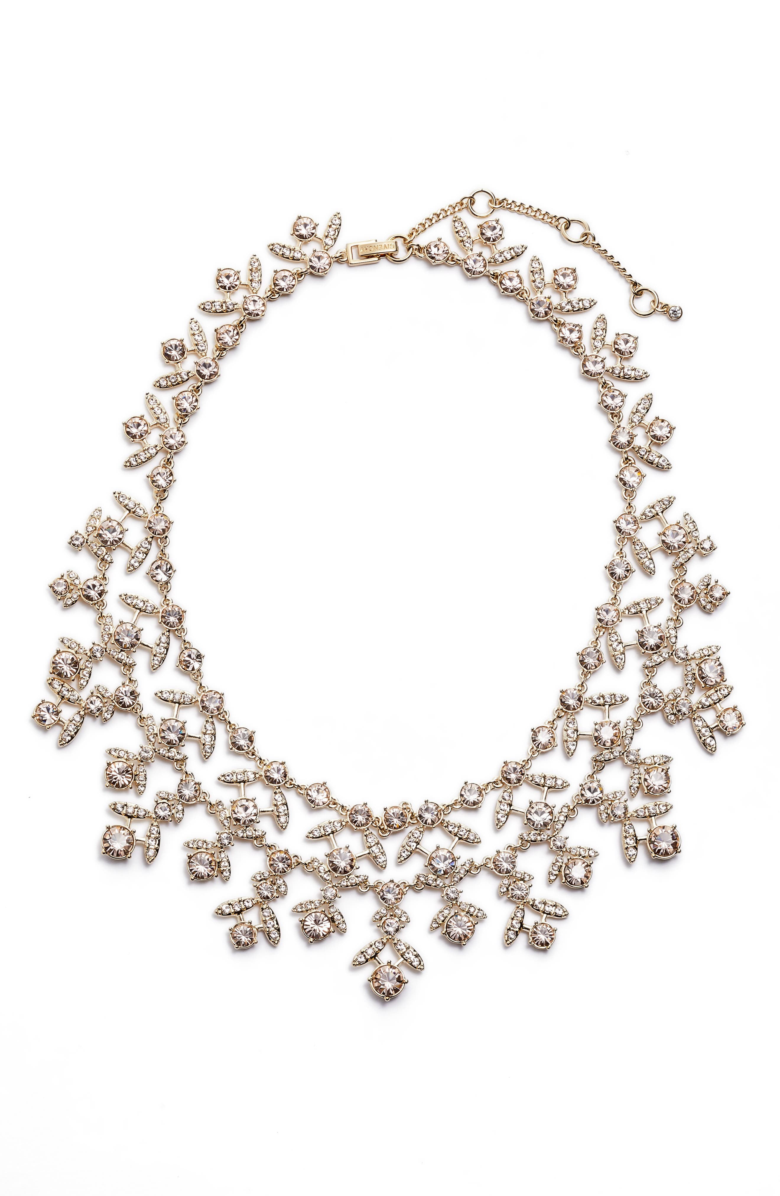 Crystal Collar Necklace,                             Main thumbnail 1, color,                             Gold/ Silk