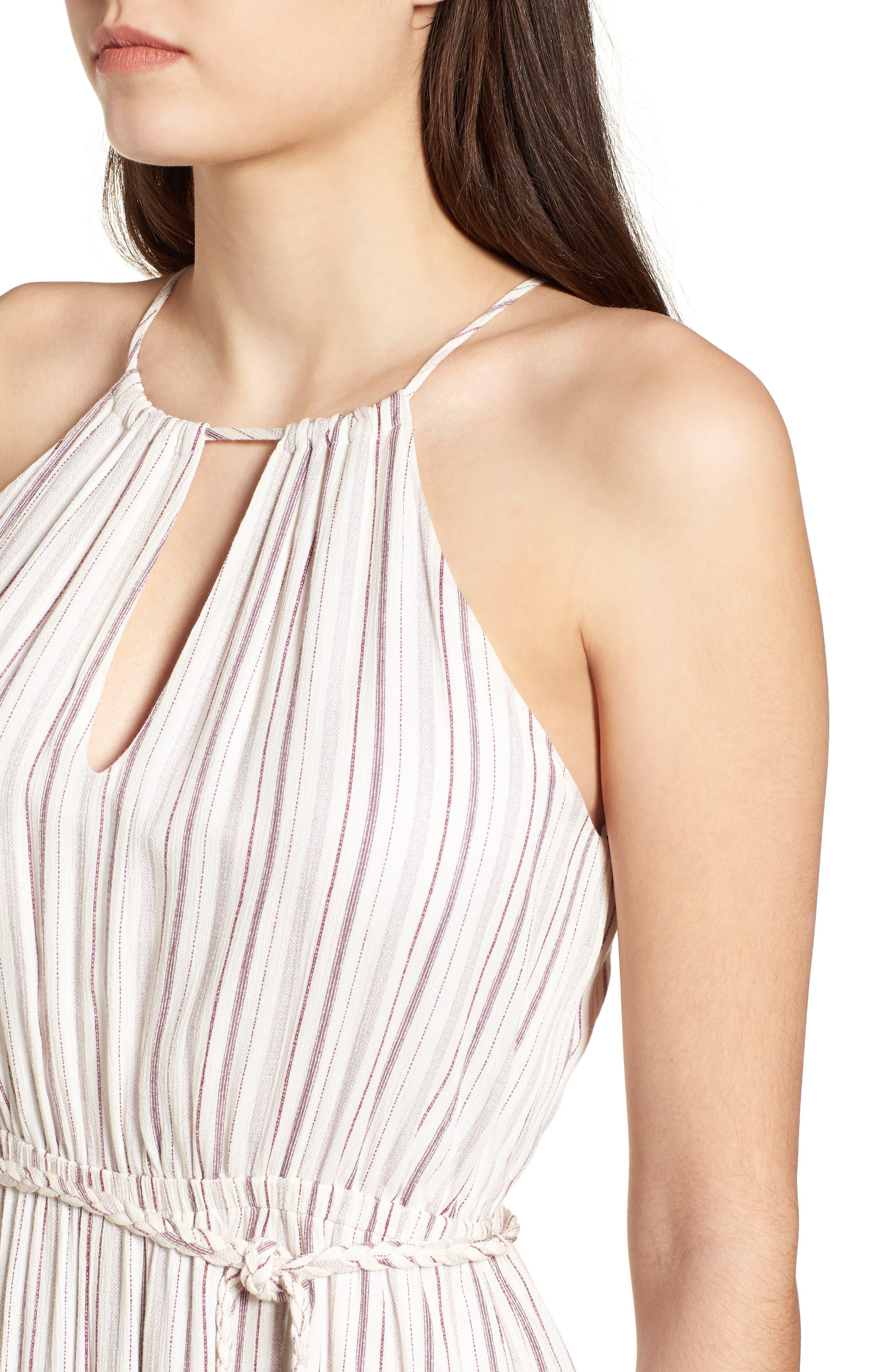 Daydreamer Stripe Maxi Dress,                             Alternate thumbnail 4, color,                             Ivory/ Mauve
